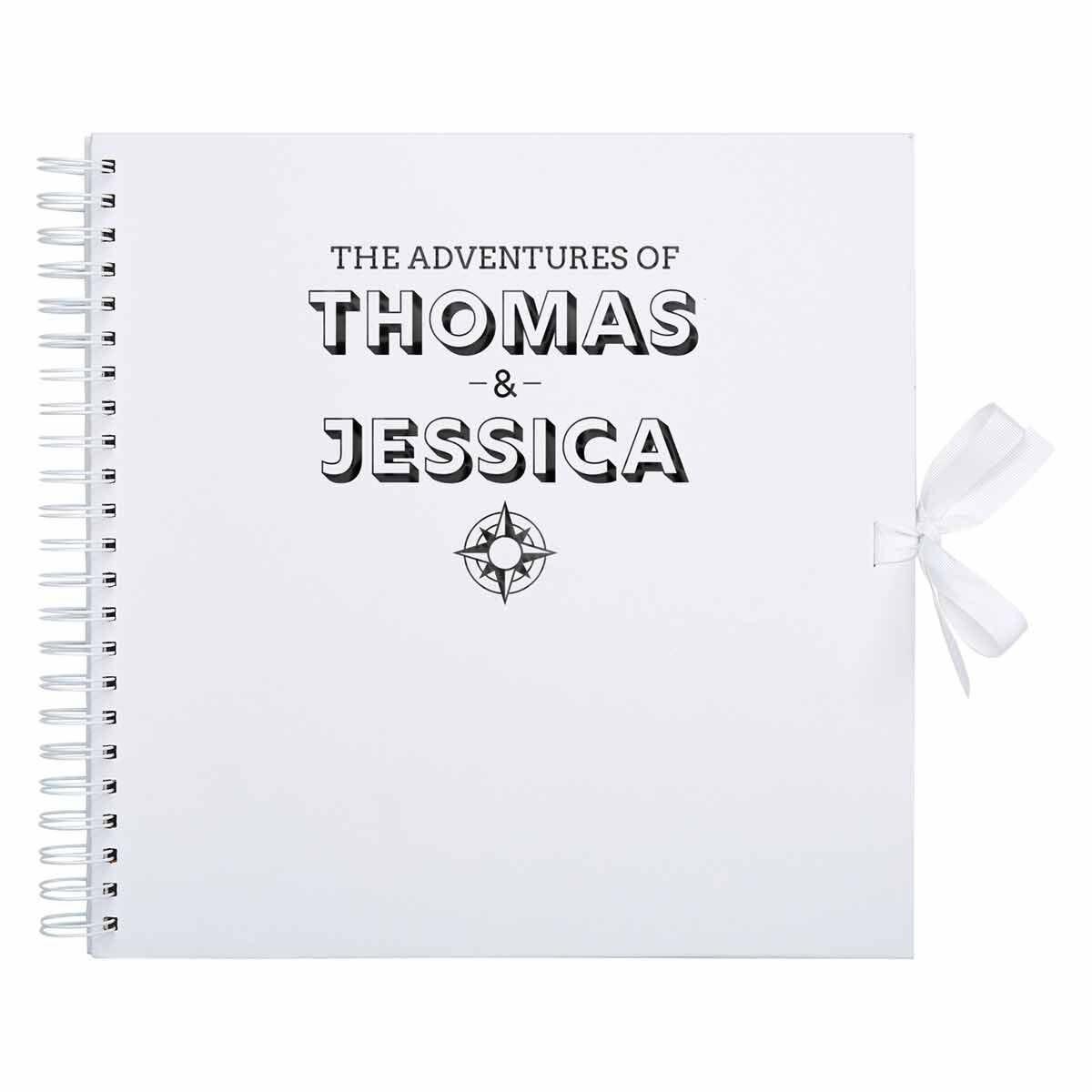 Personalised Scrapbook 12x12 Travel Black Foil White
