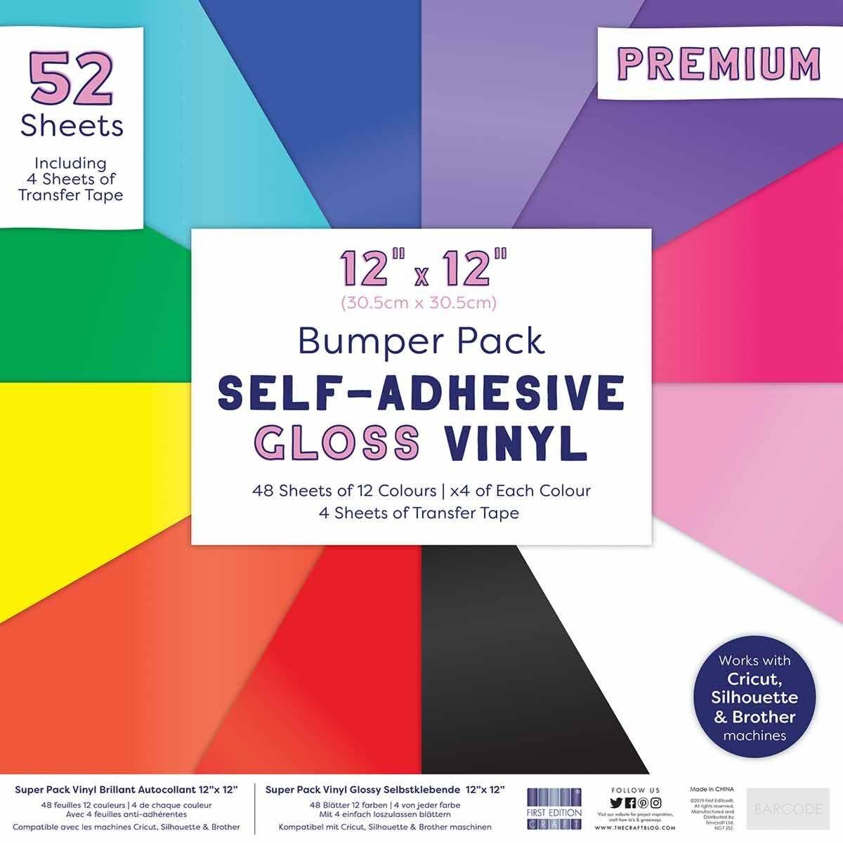 Premium Gloss Self Adhesive Vinyl and Tape 12x12 Bumper Pack 12 Colours