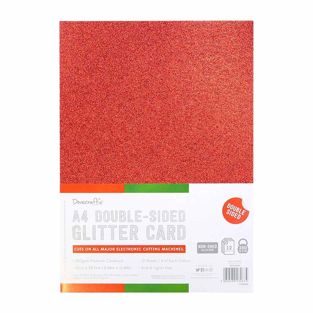 Dovecraft A4 Double Sided Glitter Bumper Pack 12 Sheet Festive