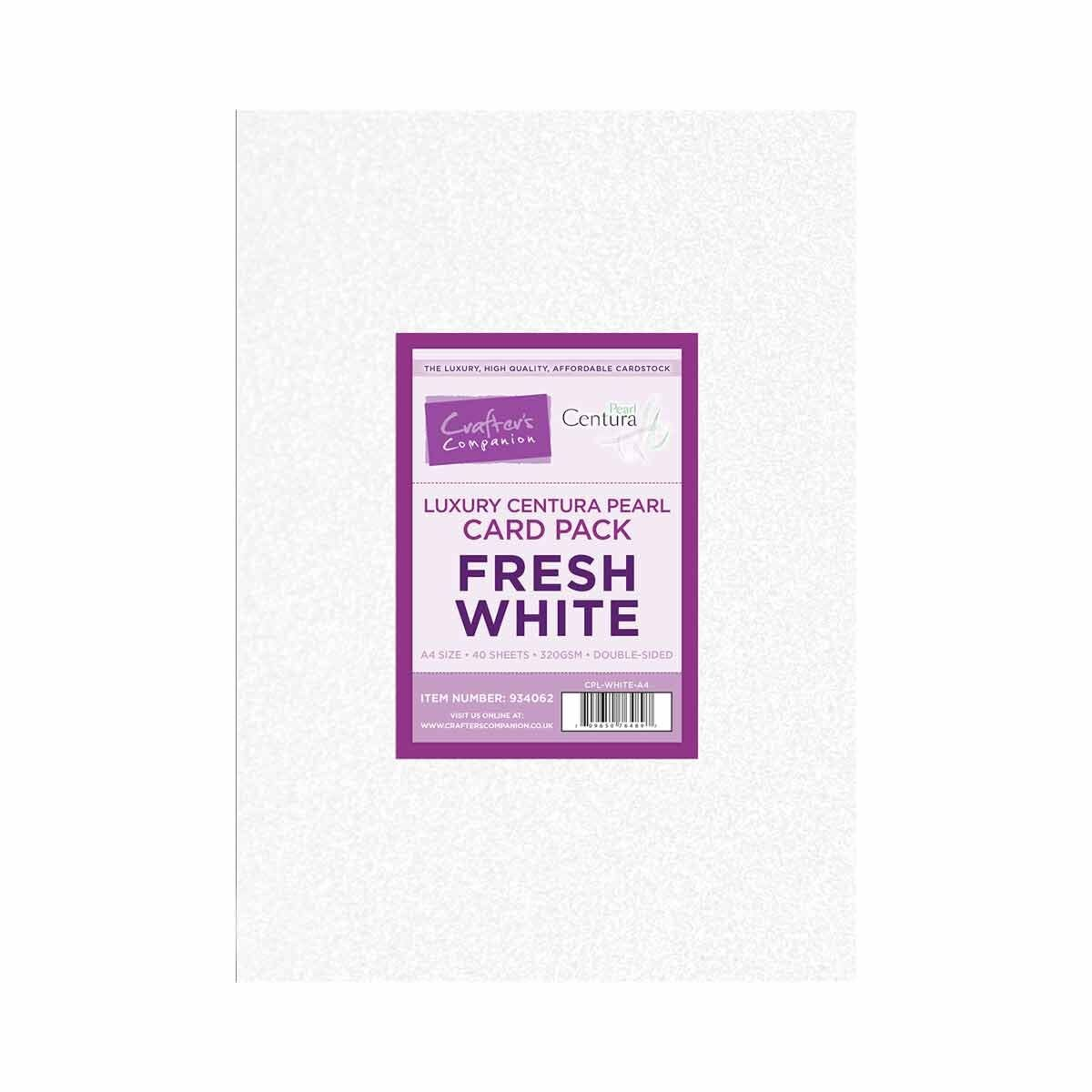 Crafters Companion Luxury Centura Pearl Fresh White A4 Card Pack of 40