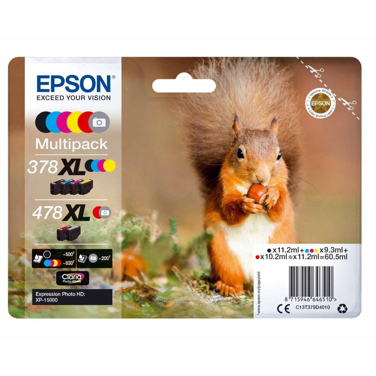 Epson 378XL 478XL 6 Colour Multipack Squirrel Original Ink Cartridge