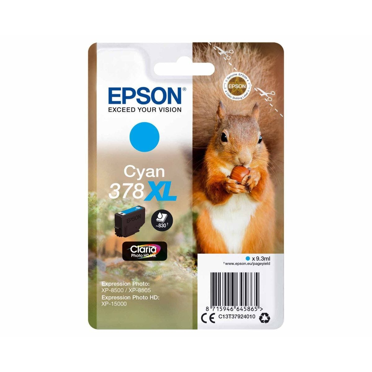 Epson 378XL Cyan Squirrel Original Ink Cartridge