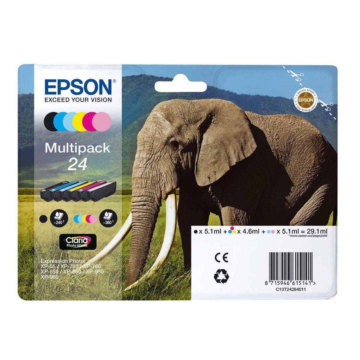 Epson 24 Elephant Multipack Claria Photo HD Ink