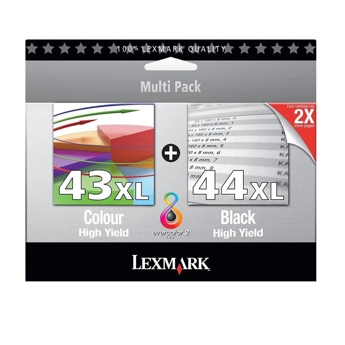 Lexmark 43XL and 44XL Black and Colour Cartridge