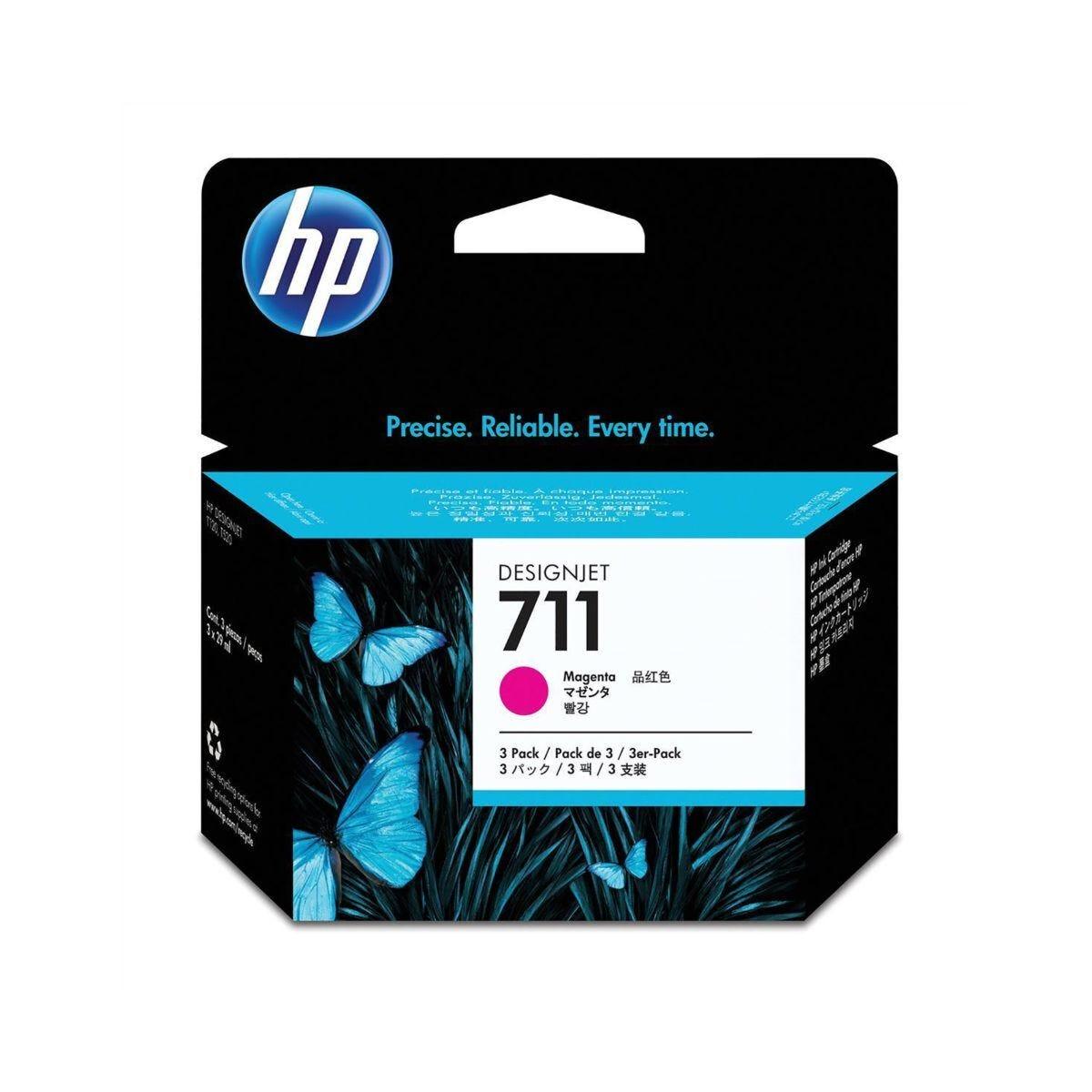 HP 711 3 Pack 29ML Ink Magenta