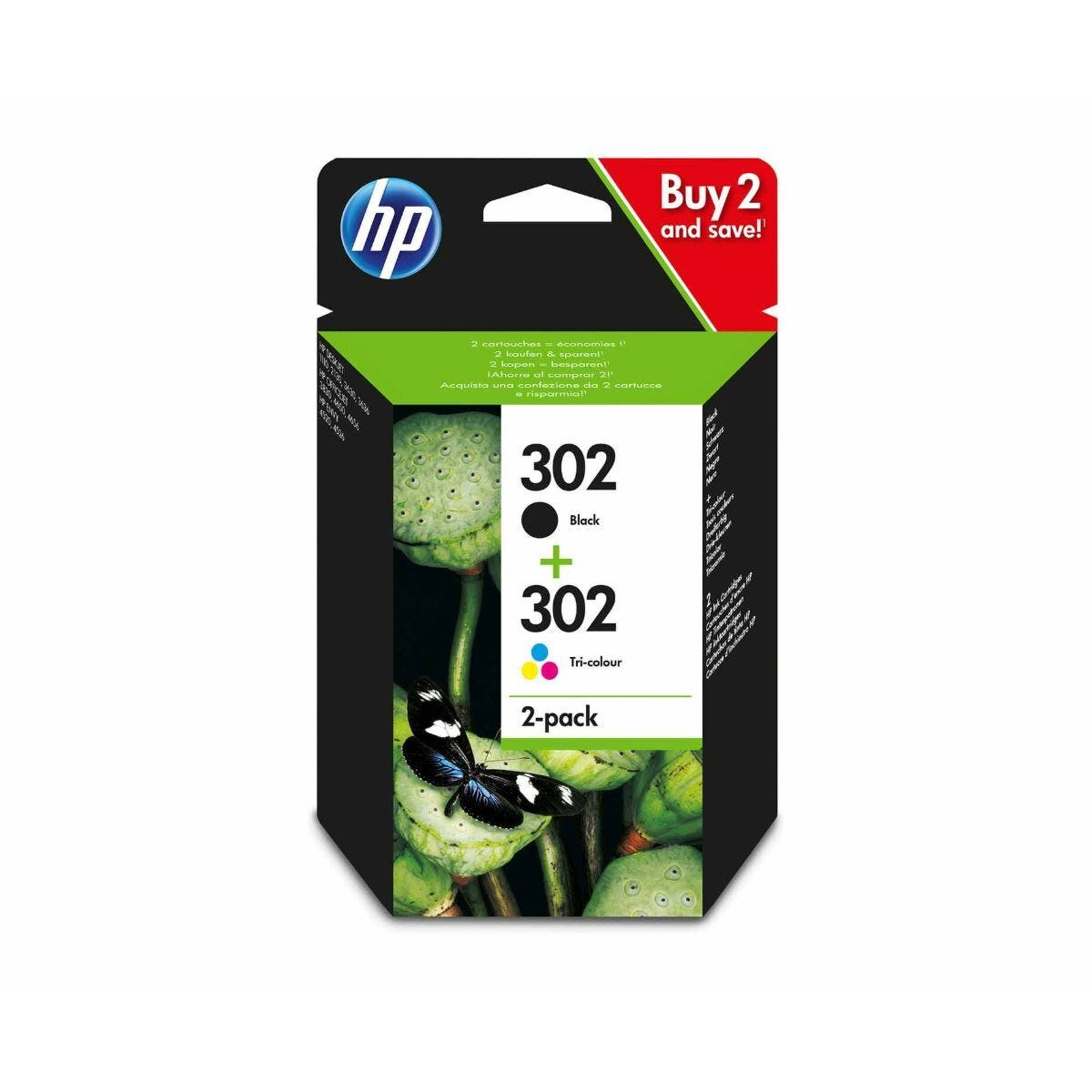 HP 302 Combo Pack Colour and Black X4D37AE