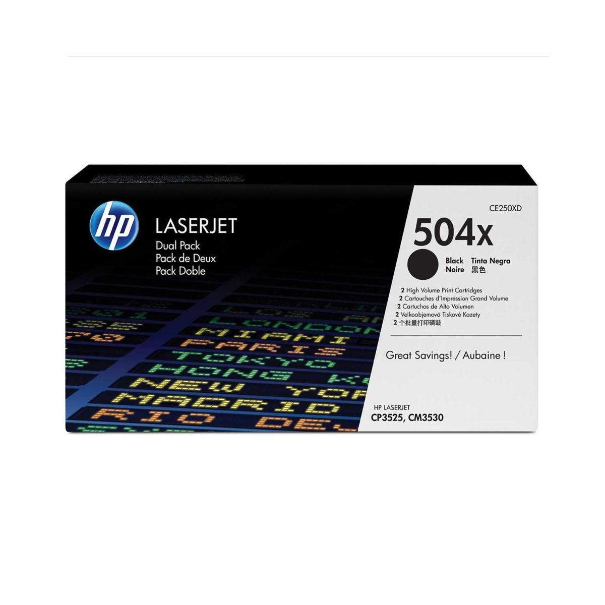 HP 504X Dual Pack Laser Toner Black