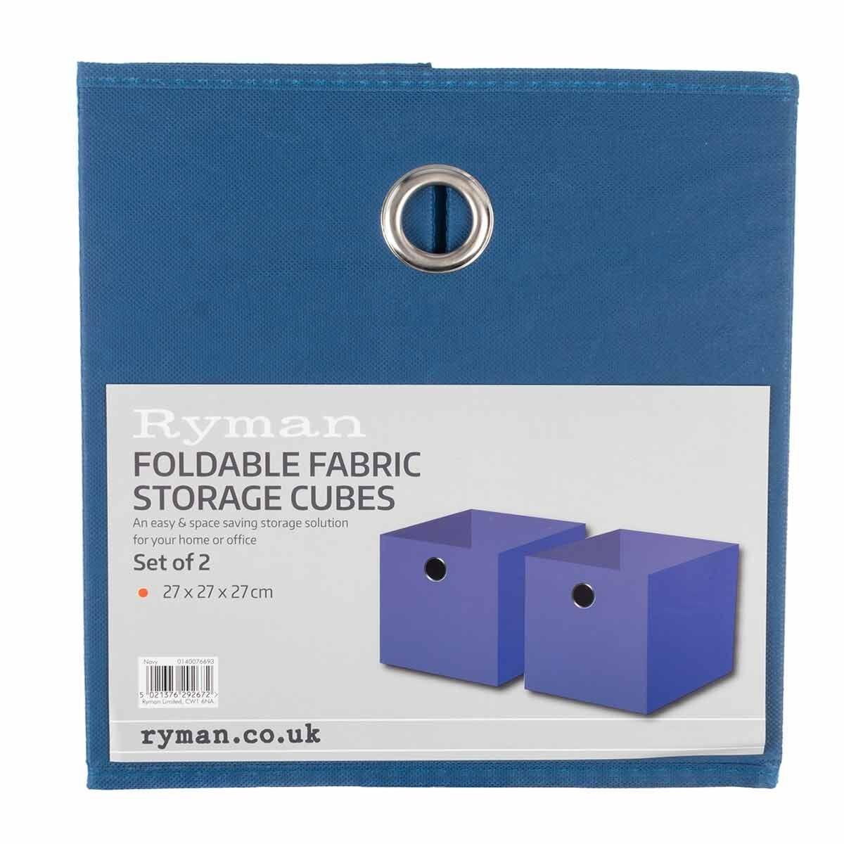 Ryman Fabric Storage Cube Pack of 2 Navy
