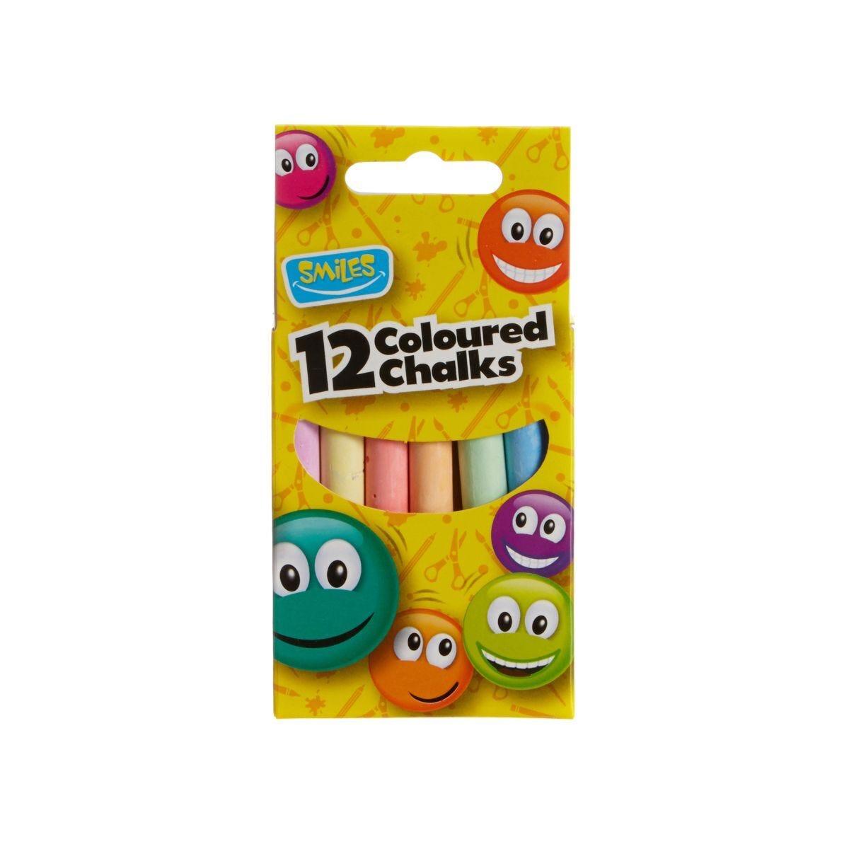 Smiles Coloured Chalks Pack of 12