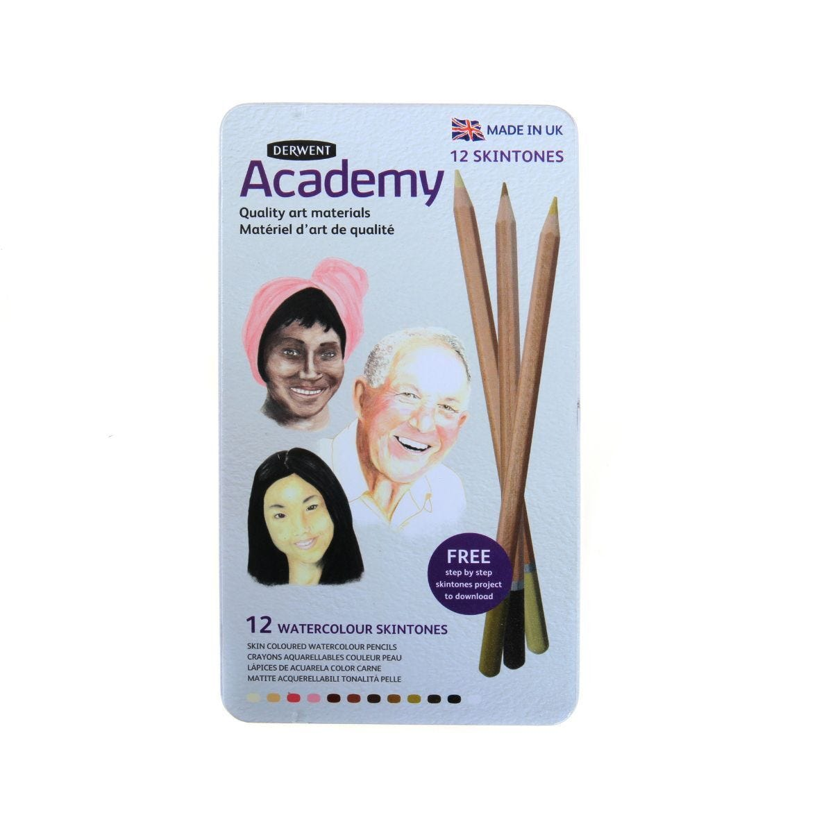 Derwent Academy Skintones 12 in a Tin