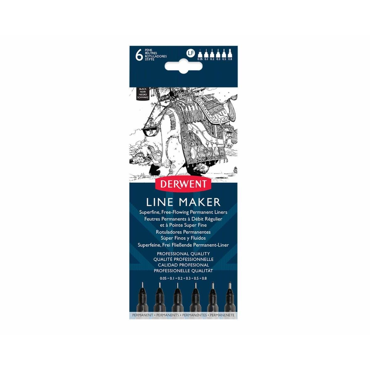 Derwent Linemaker Black Pack of 6