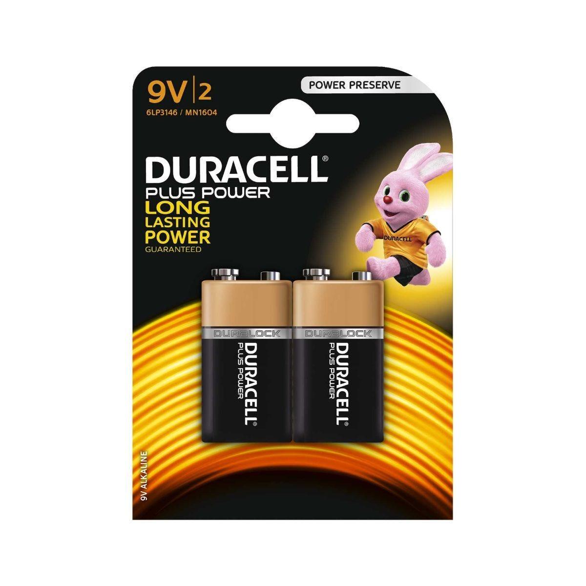 Duracell Duralock Plus Power 9v Pack of 2