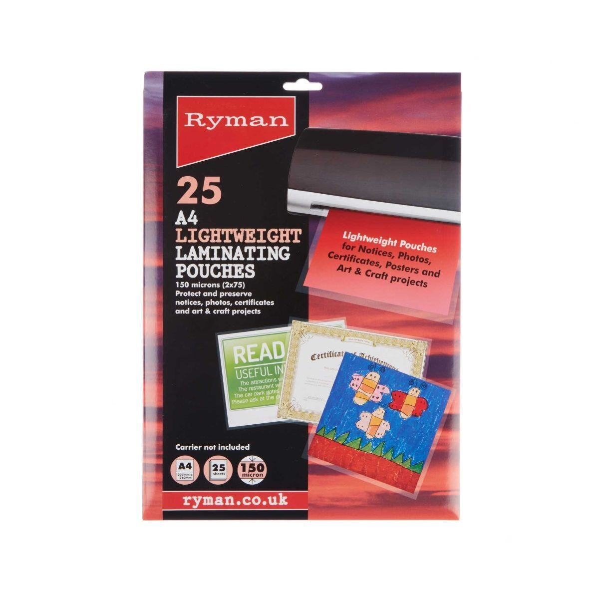 Ryman Laminating Pouches A4 150 Micron Pack of 25