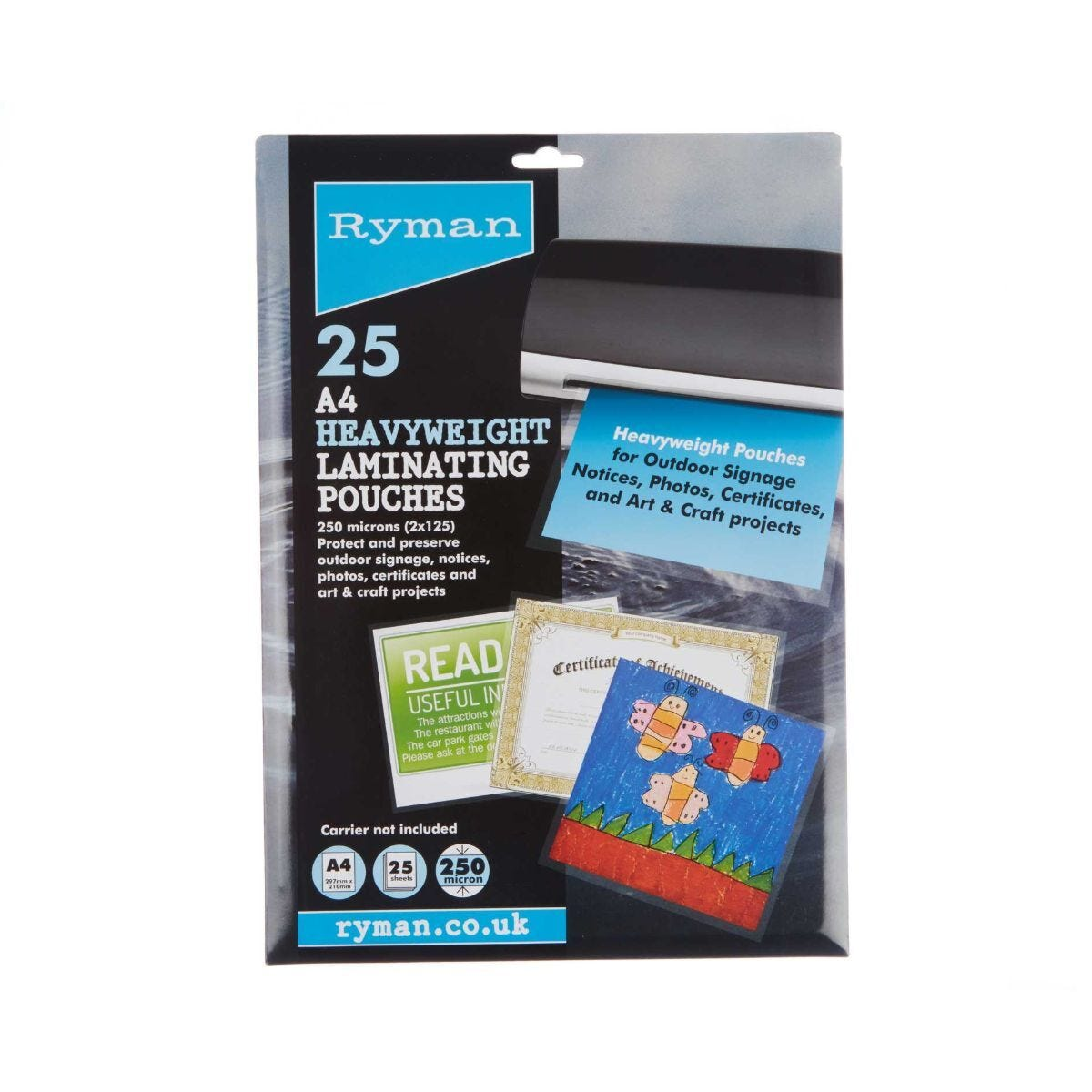 Ryman Laminating Pouches A4 250 Micron Pack of 25