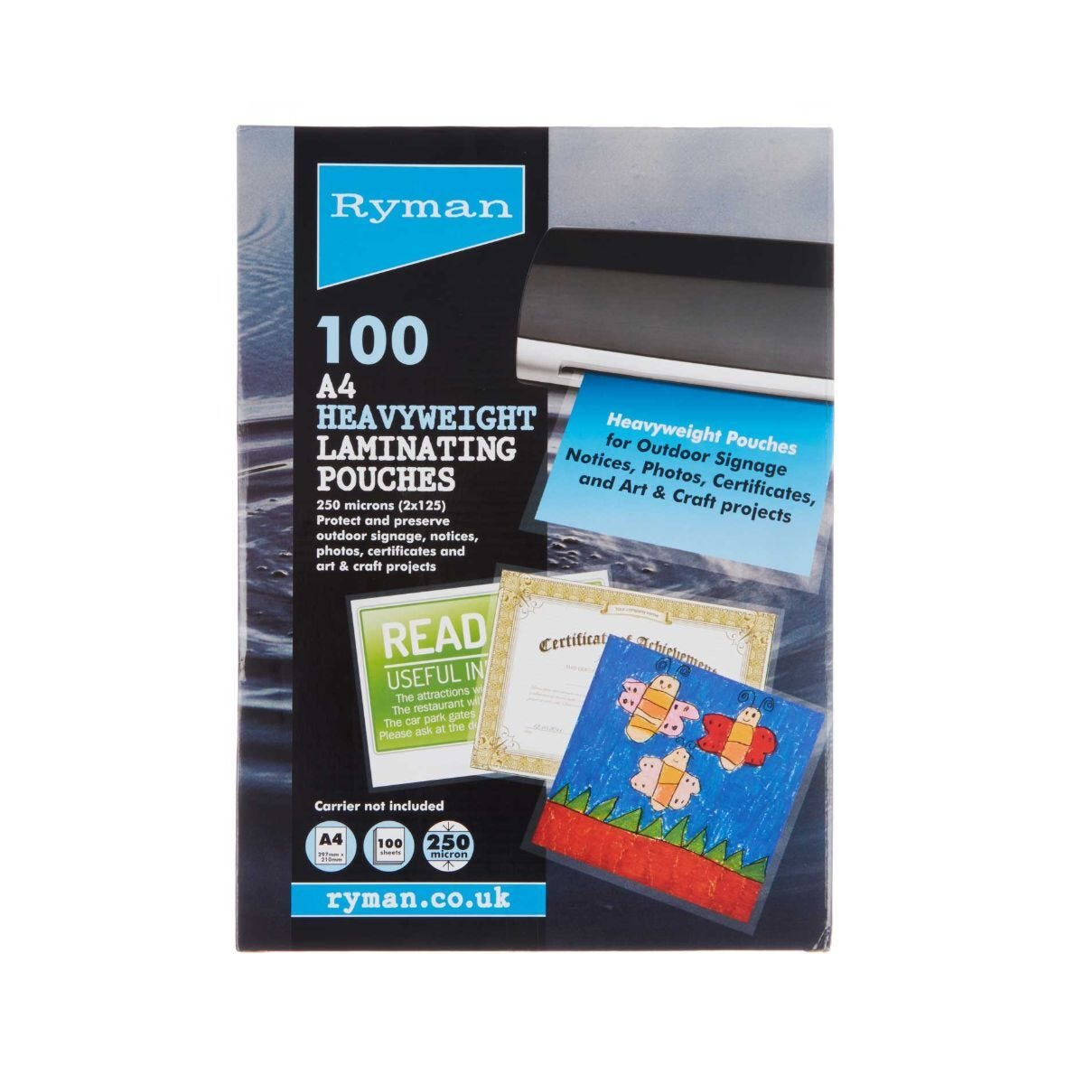 Ryman Laminating Pouches A4 250 Micron Pack of 100