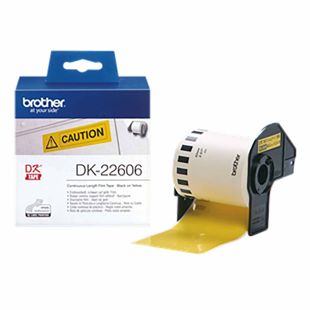 Brother DK-22606 Label Roll Black on Yellow
