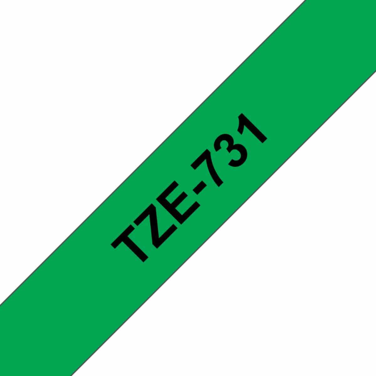 Brother TZE731 Tape  Black/Green