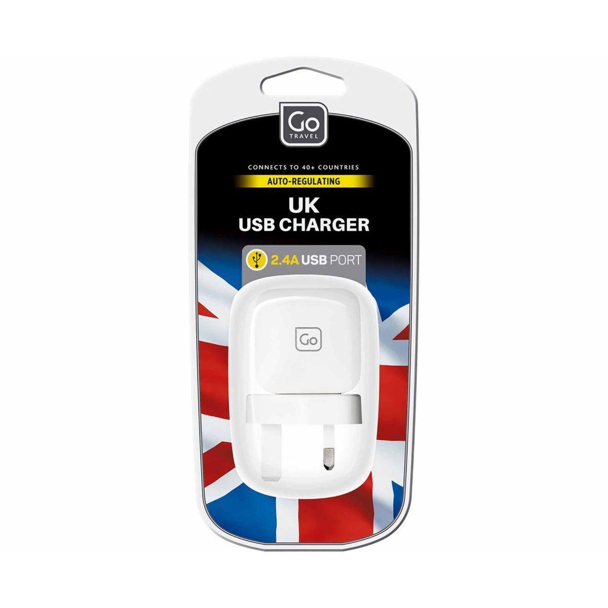 Go Travel 2.4A USB Charger Plug UK