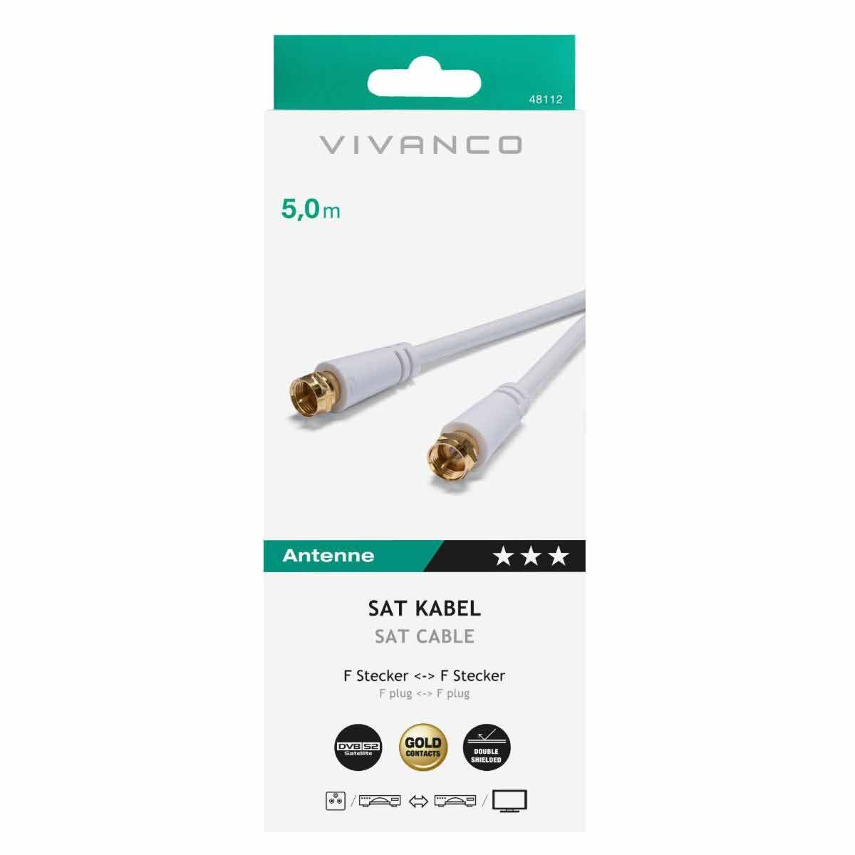 Vivanco Receiver Connection Cable F Plug to F Plug 5M
