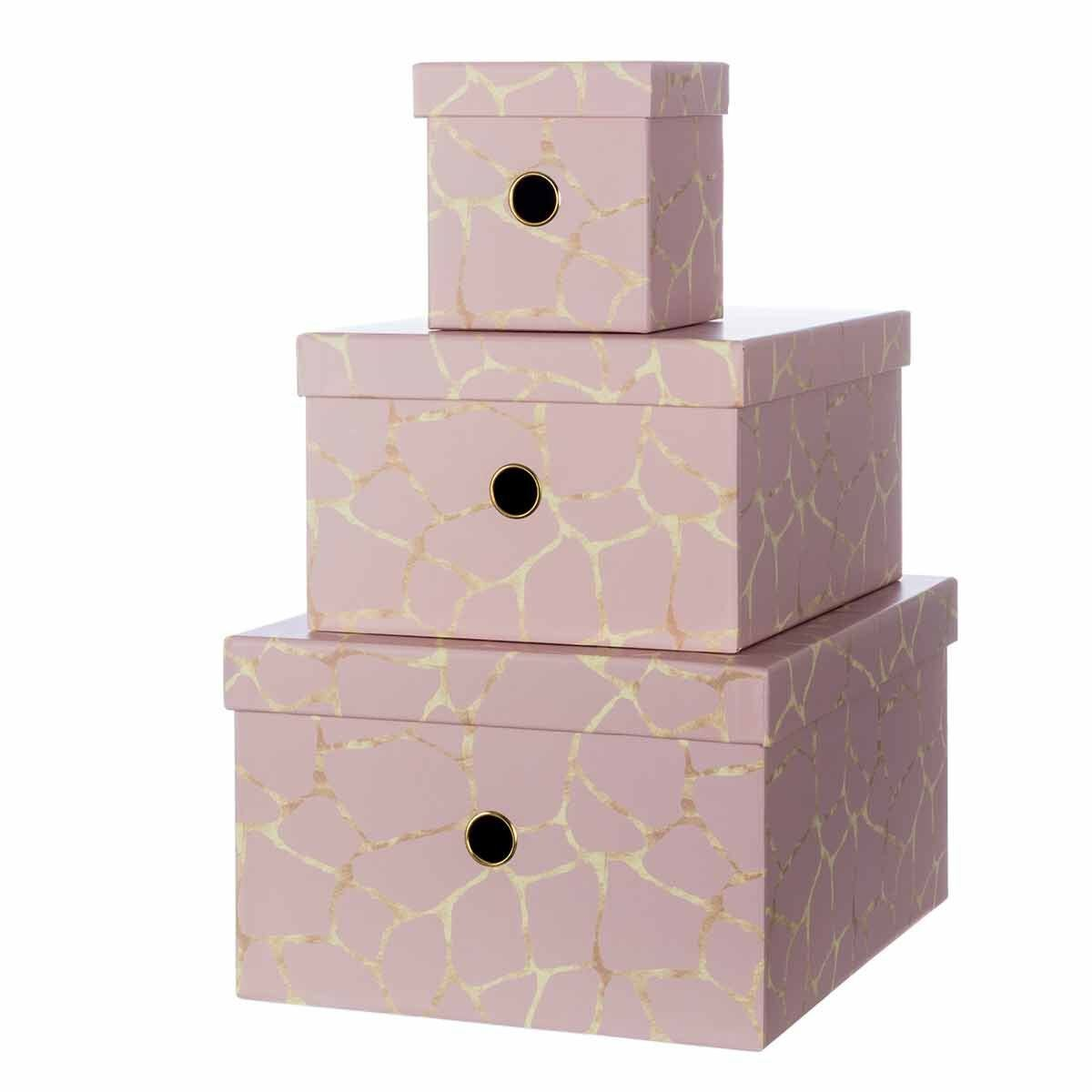 Ryman Storage Boxes Rose Gold Design Set of 3