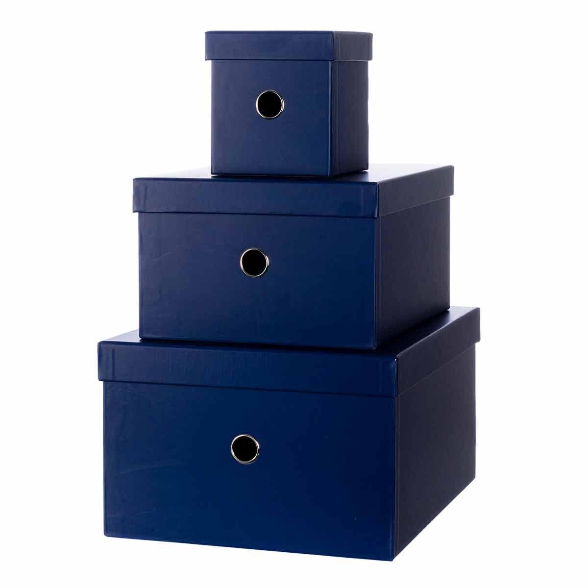 Ryman Storage Boxes Navy Set of 3