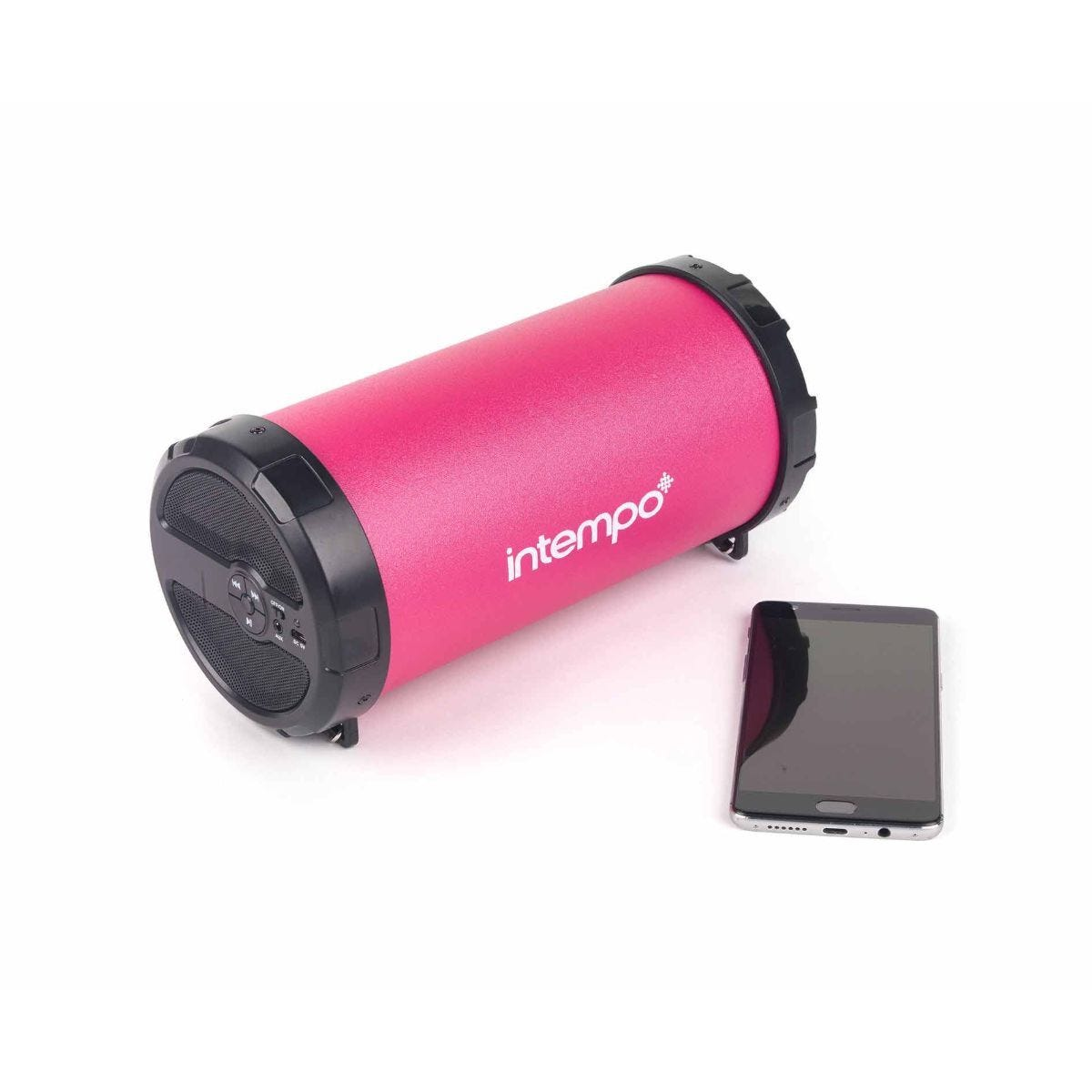 Intempo Rechargeable Bluetooth Tube Speaker Pink