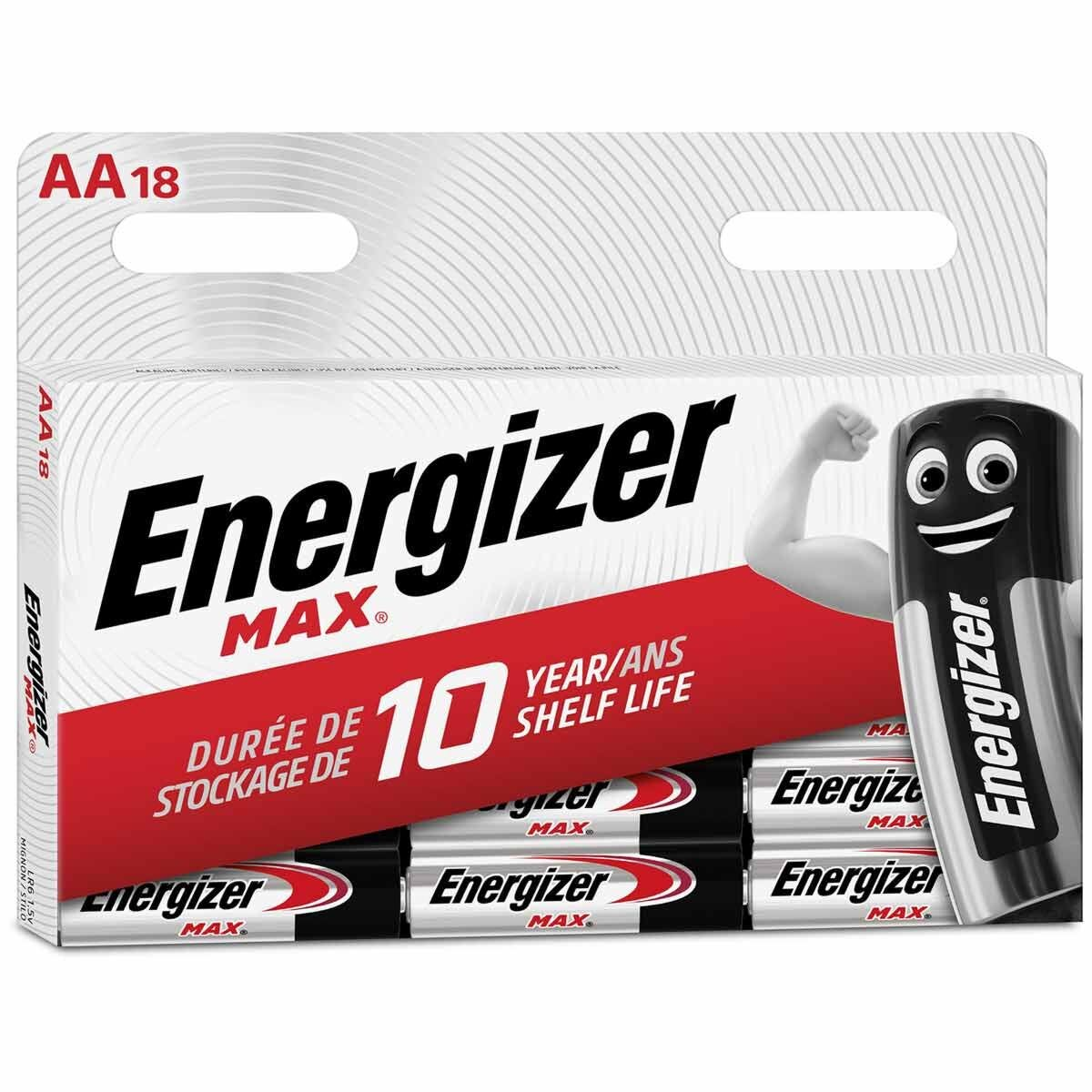 Energizer Max Alkaline AA Batteries Pack of 18