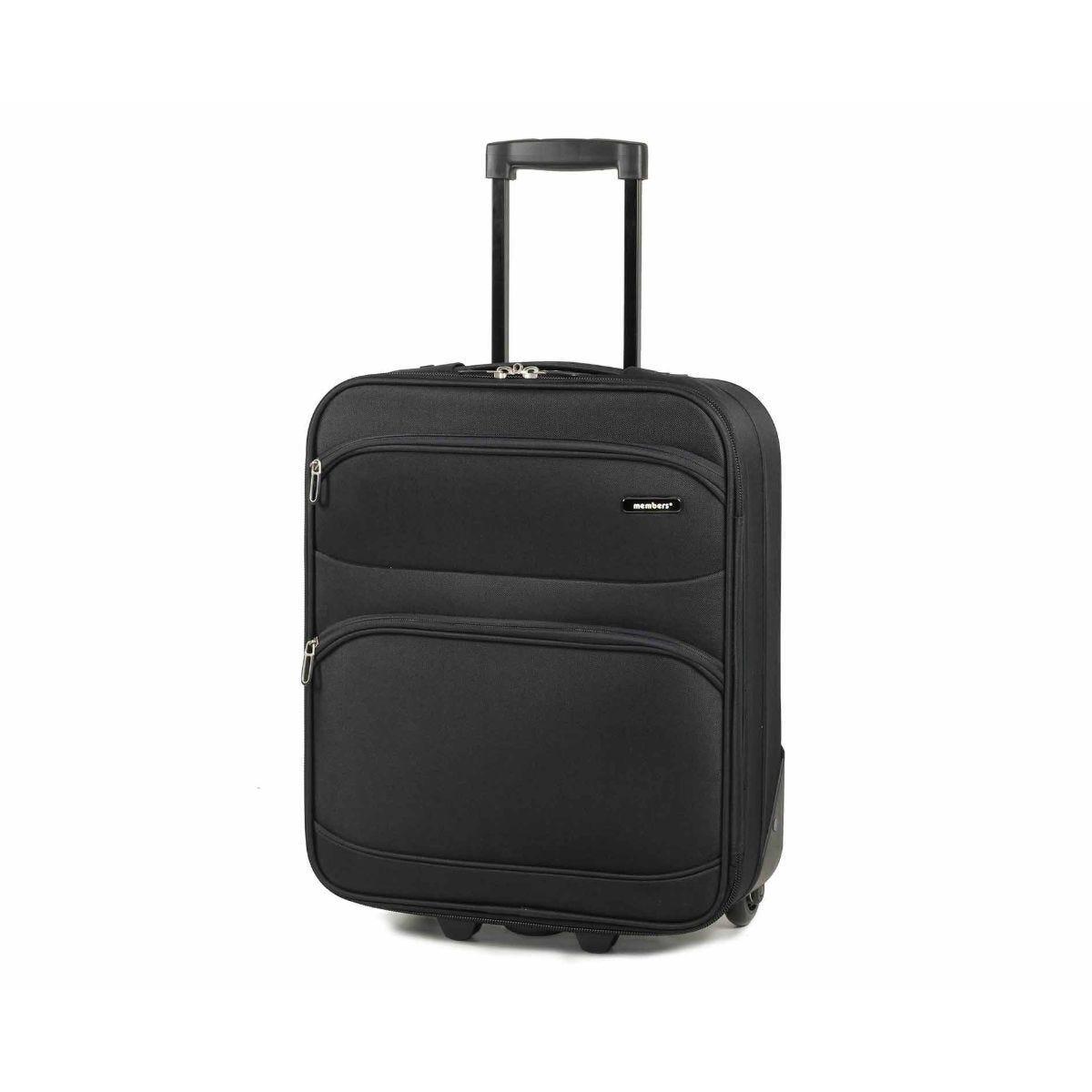 Members by Rock Topaz Carry-on Lightweight Two Wheel Trolley Suitcase 55cm Black