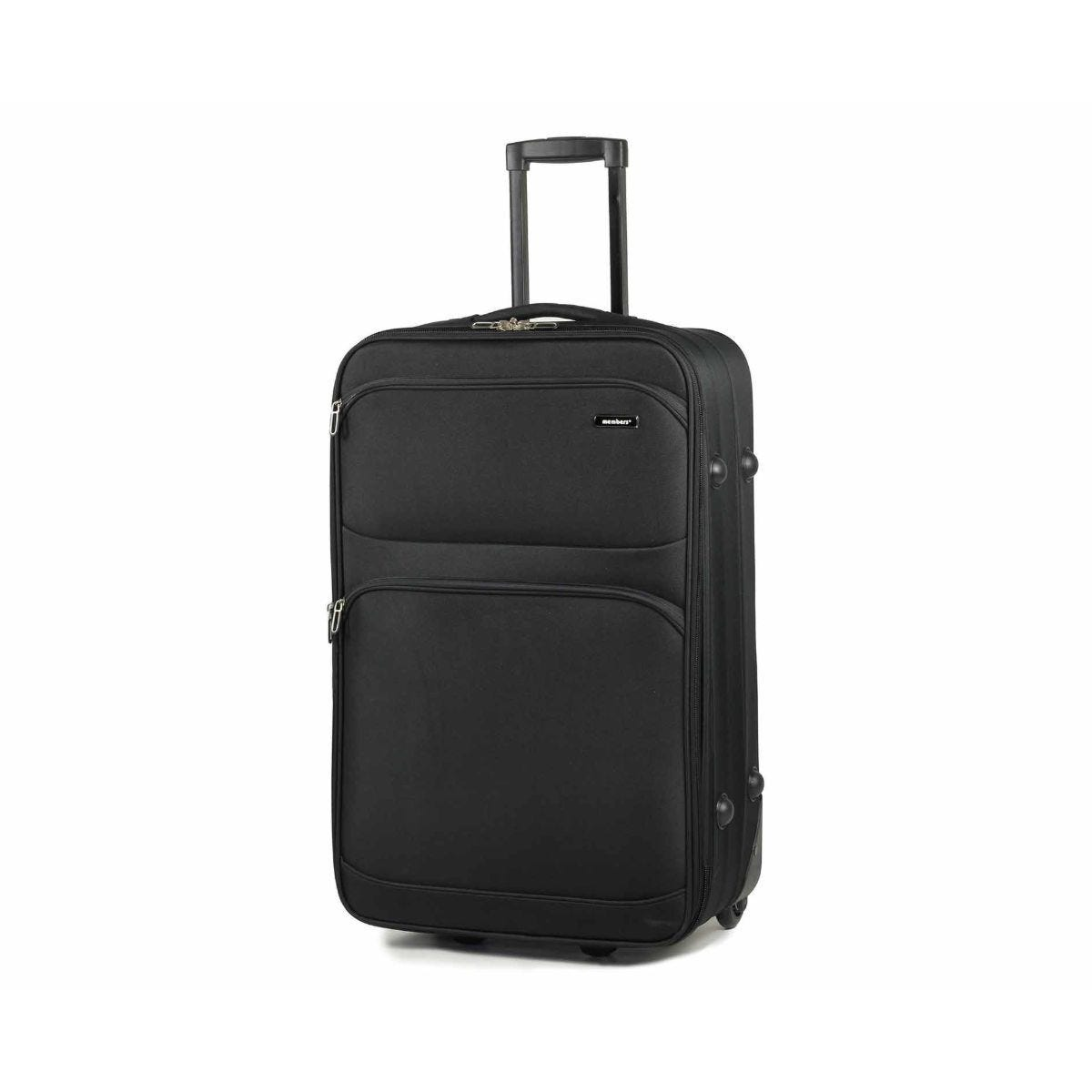 Members by Rock Topaz Lightweight Expandable Two Wheel Trolley Suitcase 65cm Black