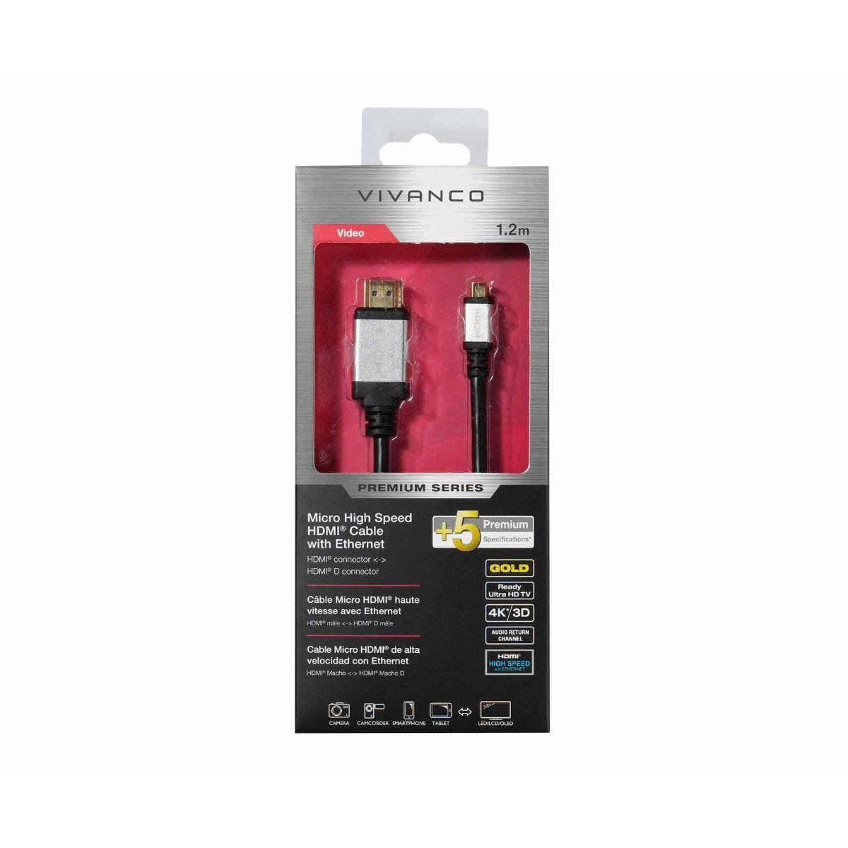 Vivanco Premium Micro High Speed HDMI Cable with Ethernet 1.2M
