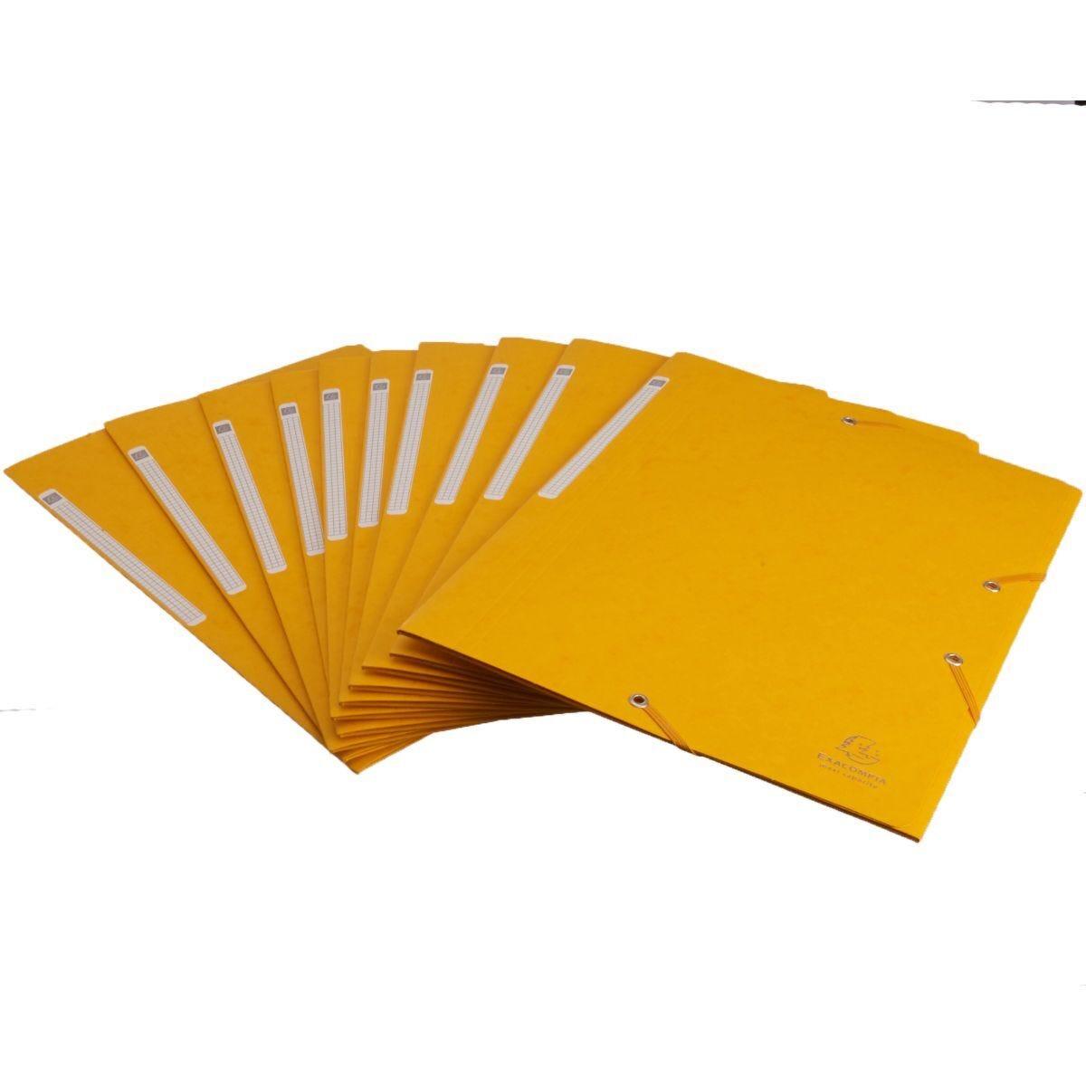 Exacompta Portfolio Folder A4 Elasticated Pack of 10 Yellow