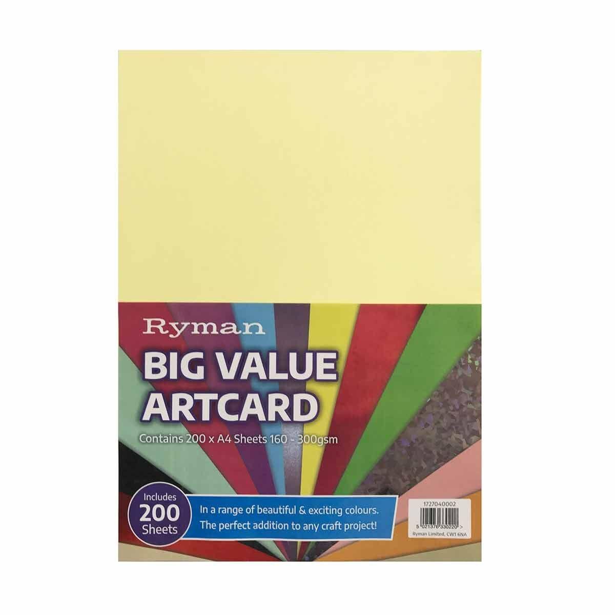 Ryman Big Value Artcard Pack of 200