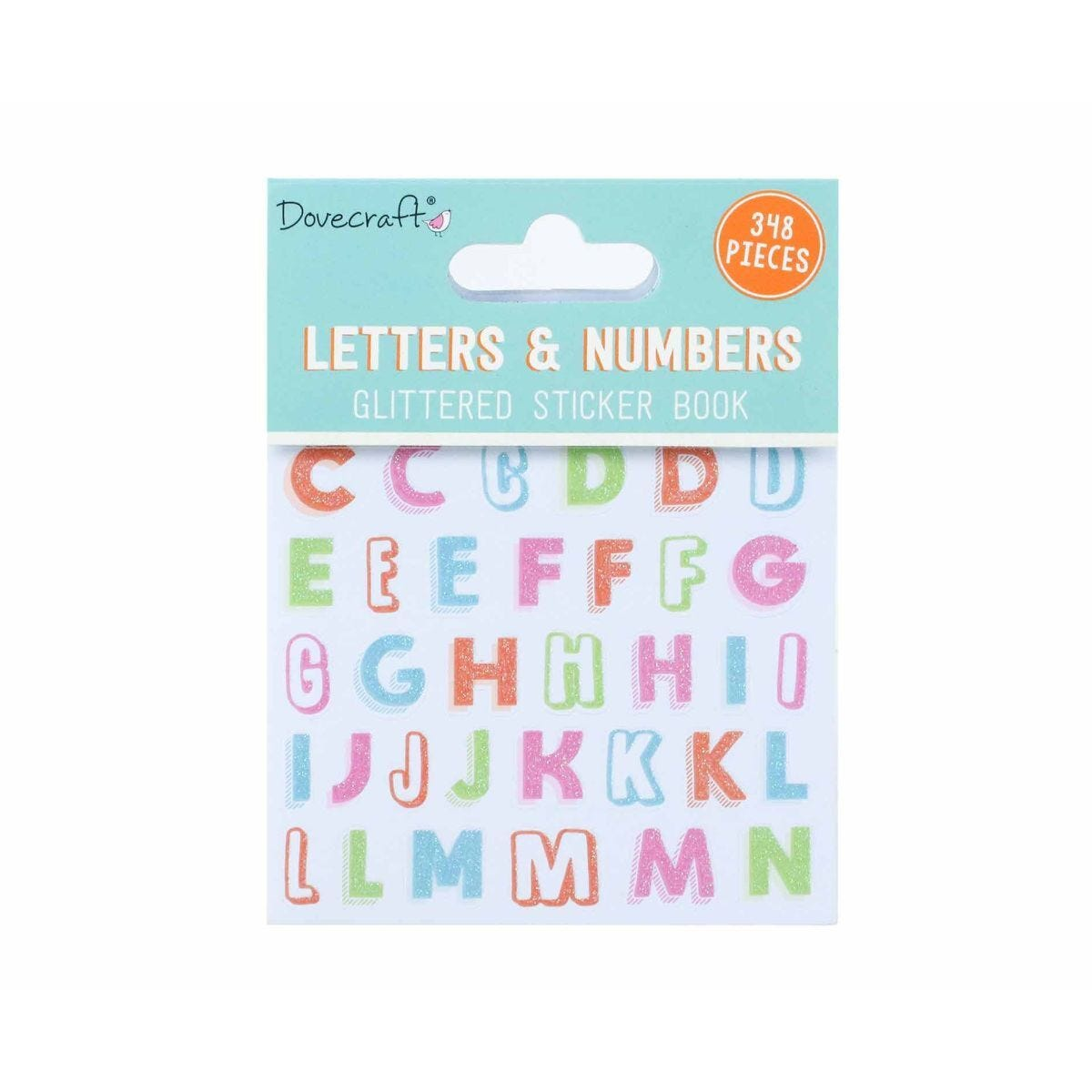 Dovecraft Letter and Numbers Glittered Sticker Book