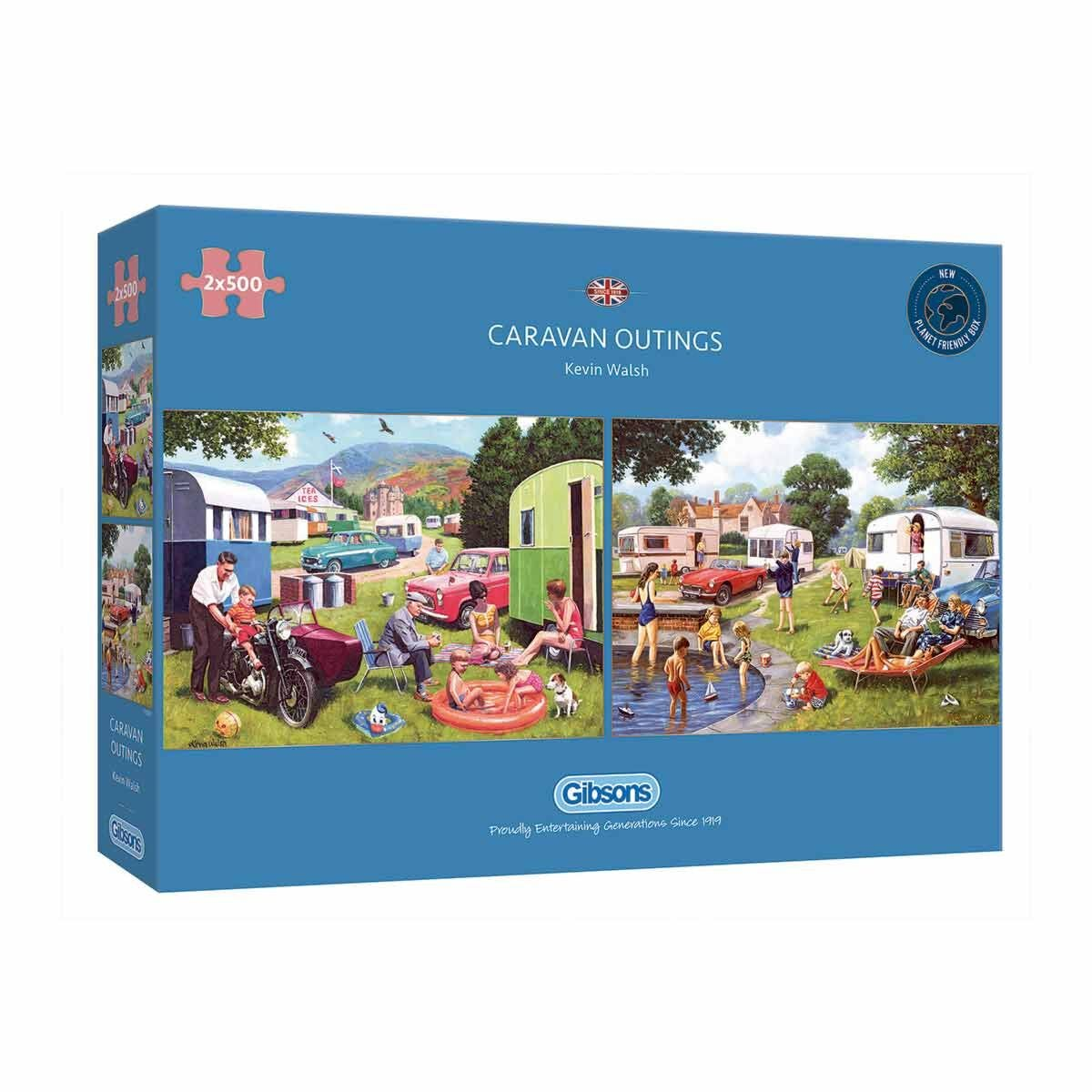 Gibsons Caravan Outings 500 Piece Jigsaw Puzzles Pack of 2