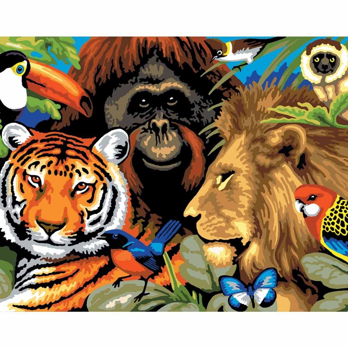 Royal Brush Paint by Numbers Kit Safari Scene Large