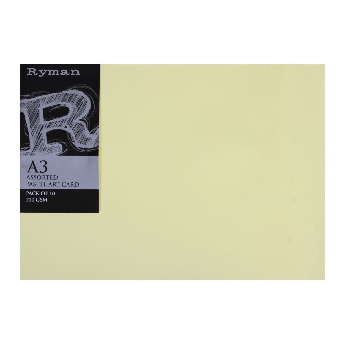 Ryman Art Card A3 210gsm Pack of 10 Pastel