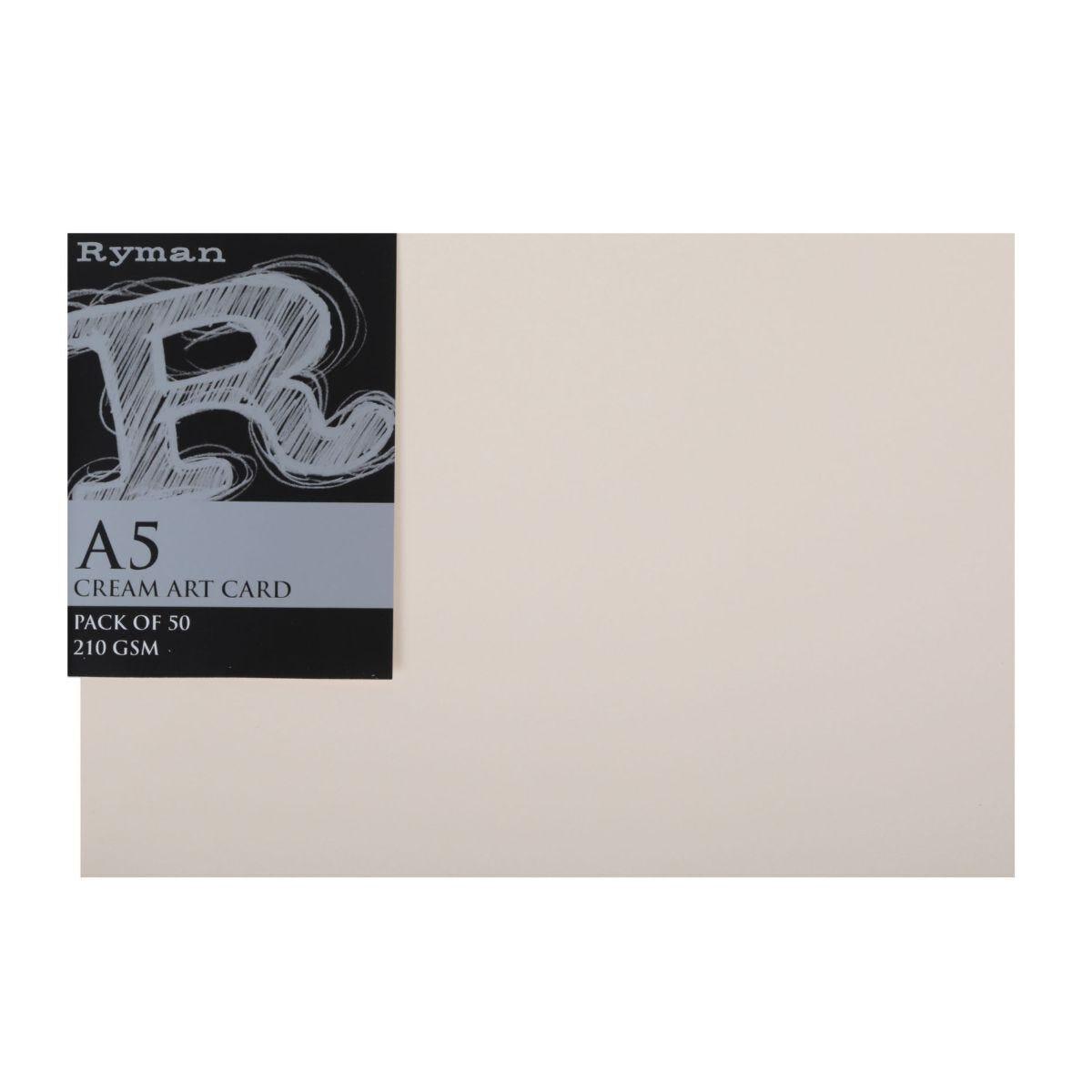 Ryman Art Card A5 210gsm Pack of 50 Cream