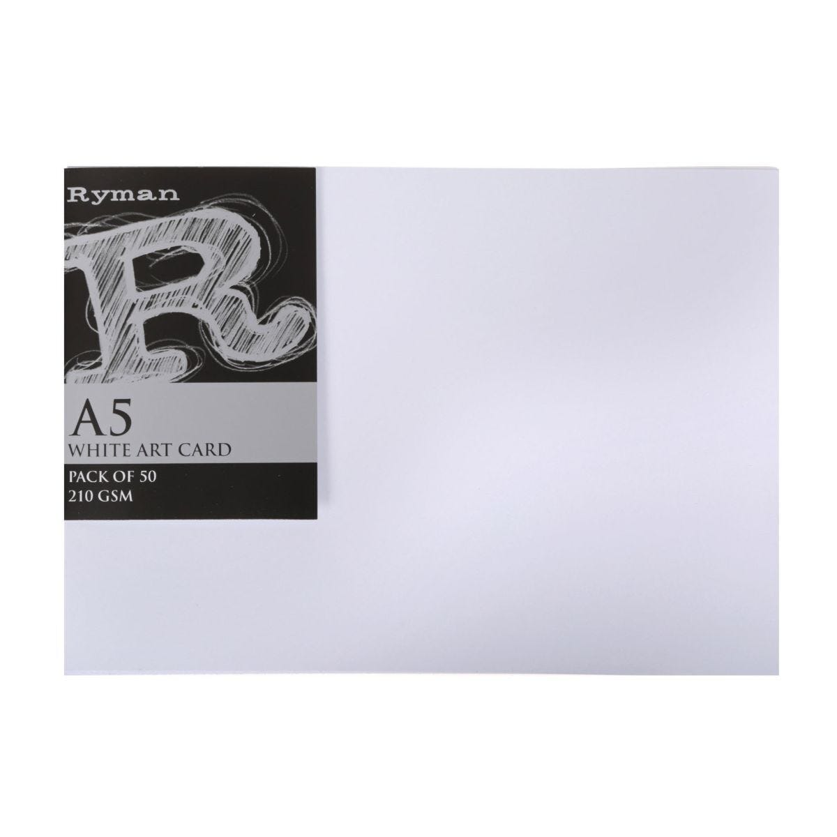 Ryman Art Card A5 210gsm Pack of 50 White