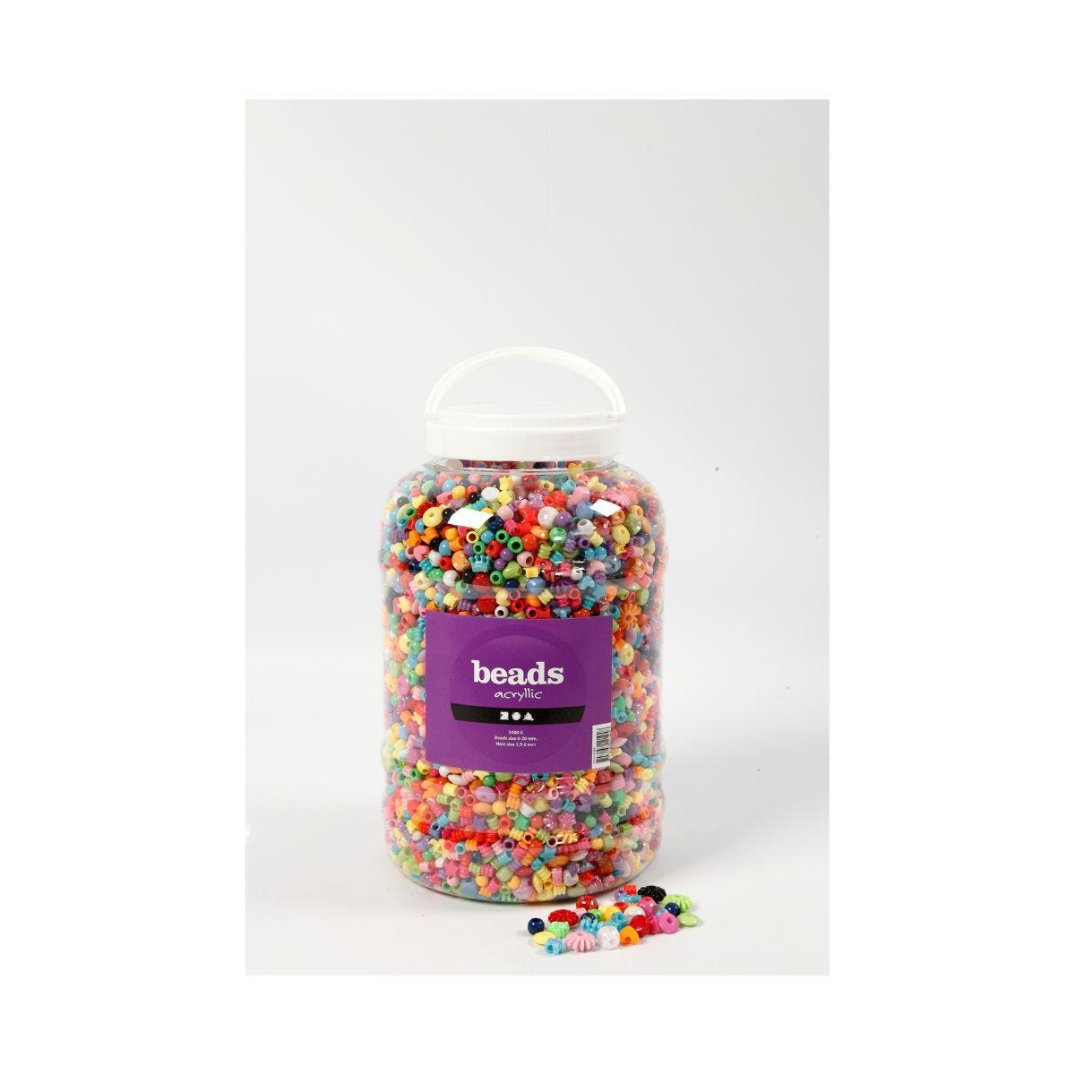 Bucket of 8100 Plastic Beads 6-20mm Assorted Colours