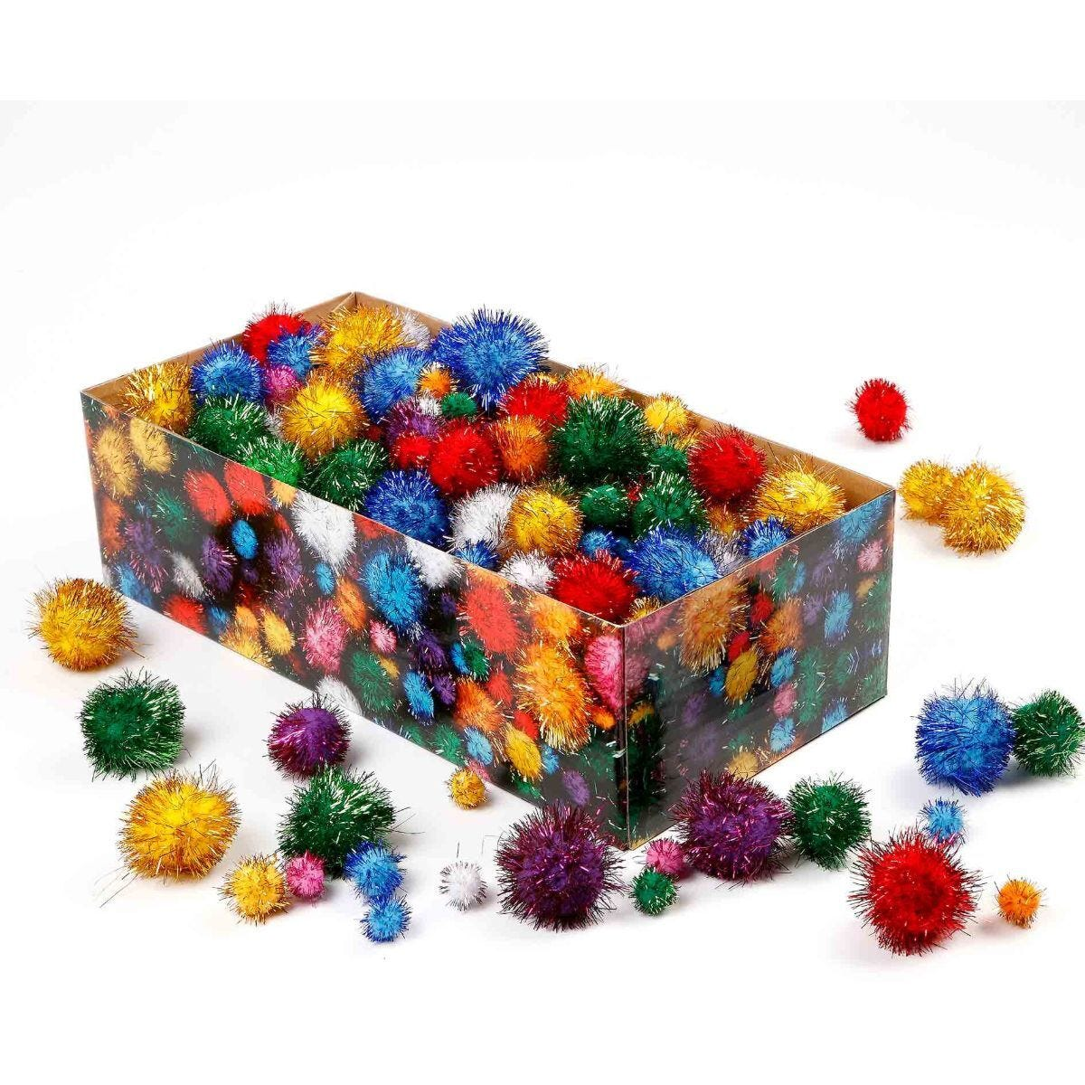 Pompoms Glitter Colours Pack of 400