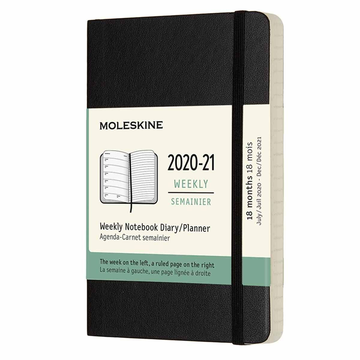 Moleskine 18 Month Soft Cover Diary Week to View with Notes Pocket 2020/21