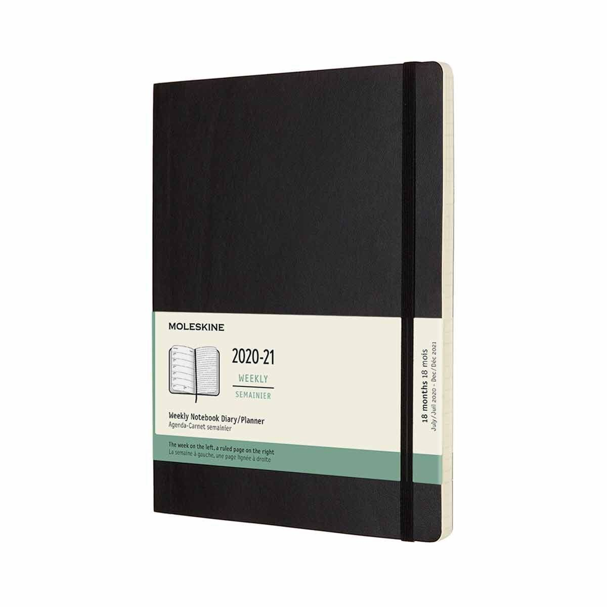 Moleskine 18 Month Soft Cover Diary Week to View with Notes XLarge 2020/21
