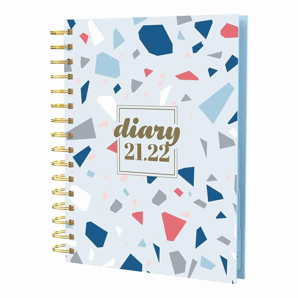 Collins Scandi Fleck Academic Diary Day to View A5 2021 Blue