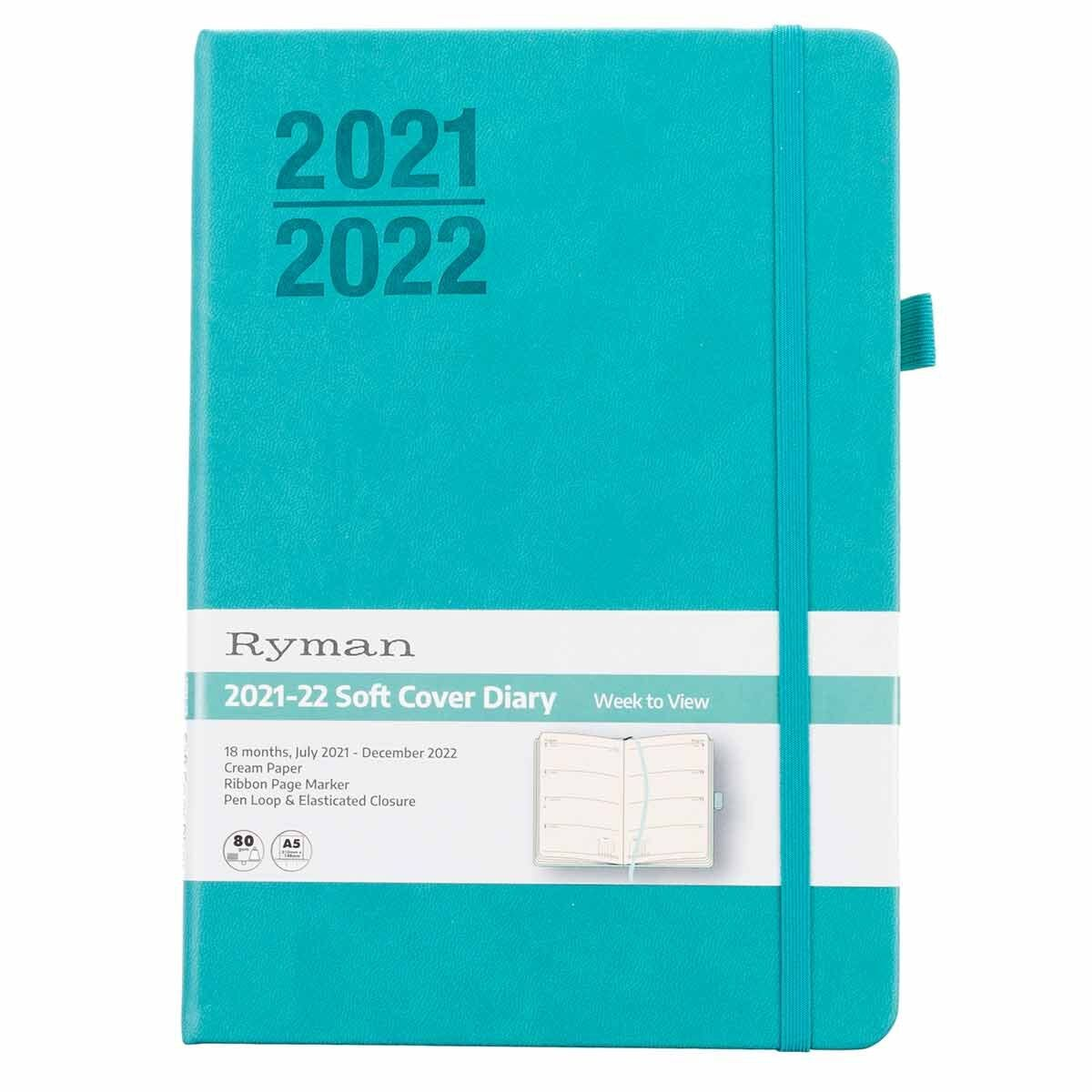 Ryman Soft Cover Mid-Year Diary Week to View A5 2021-2022 Mint
