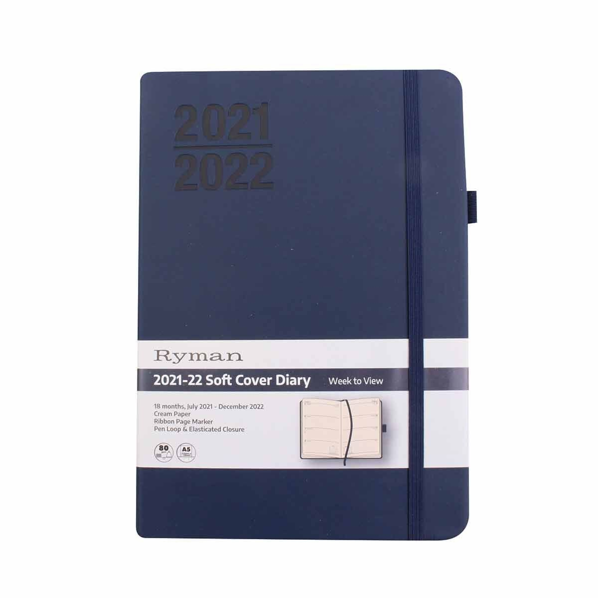 Ryman Soft Cover Mid-Year Diary Week to View A5 2021-2022 Navy