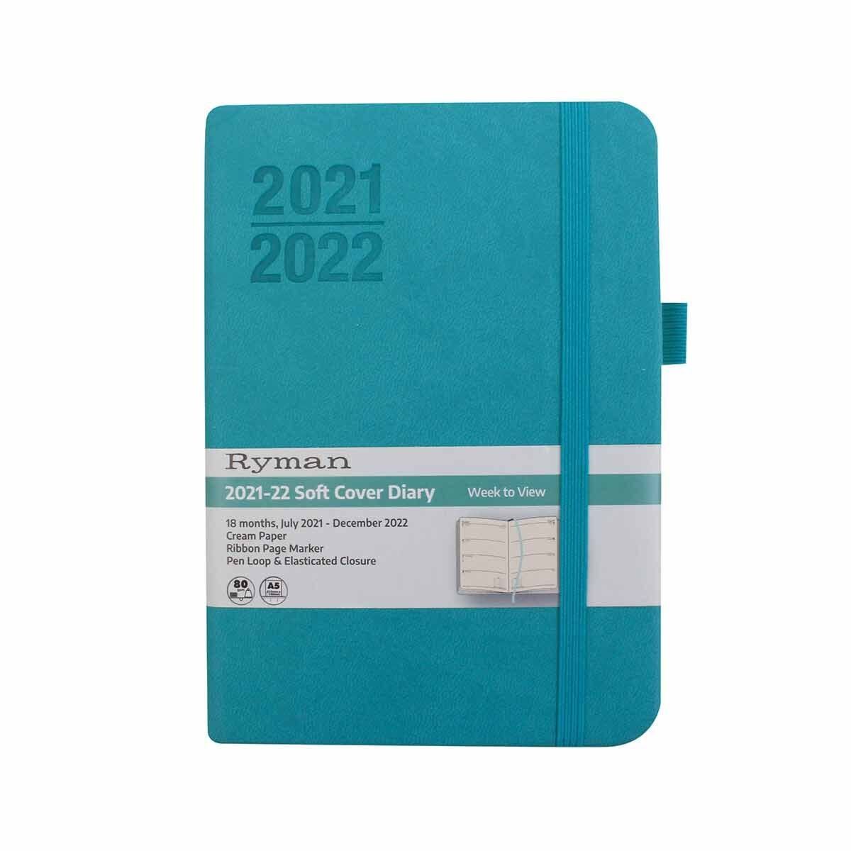Ryman Soft Cover Mid-Year Diary Week to View Navy A6 2021 Mint