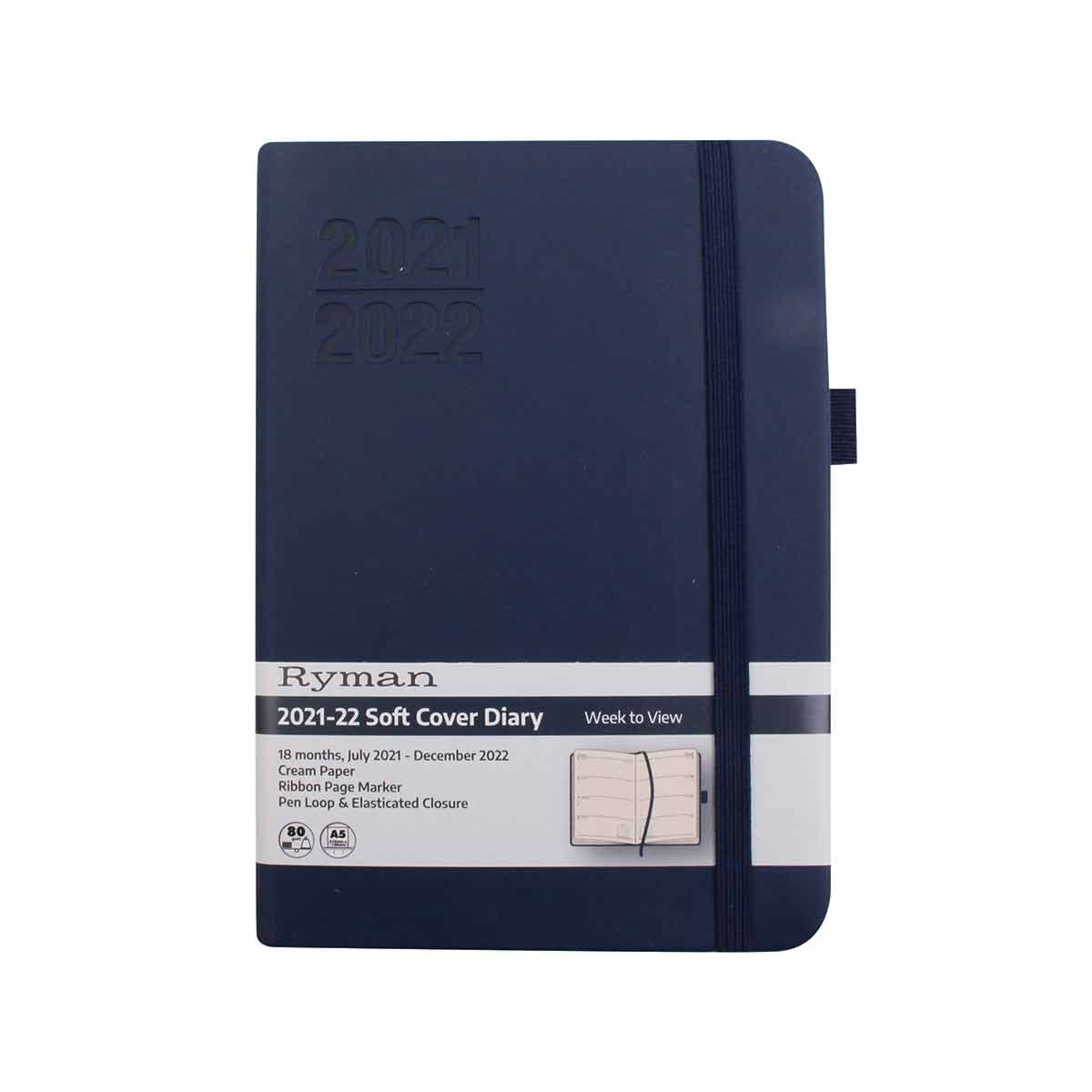 Ryman Soft Cover Mid-Year Diary Week to View Navy A6 2021