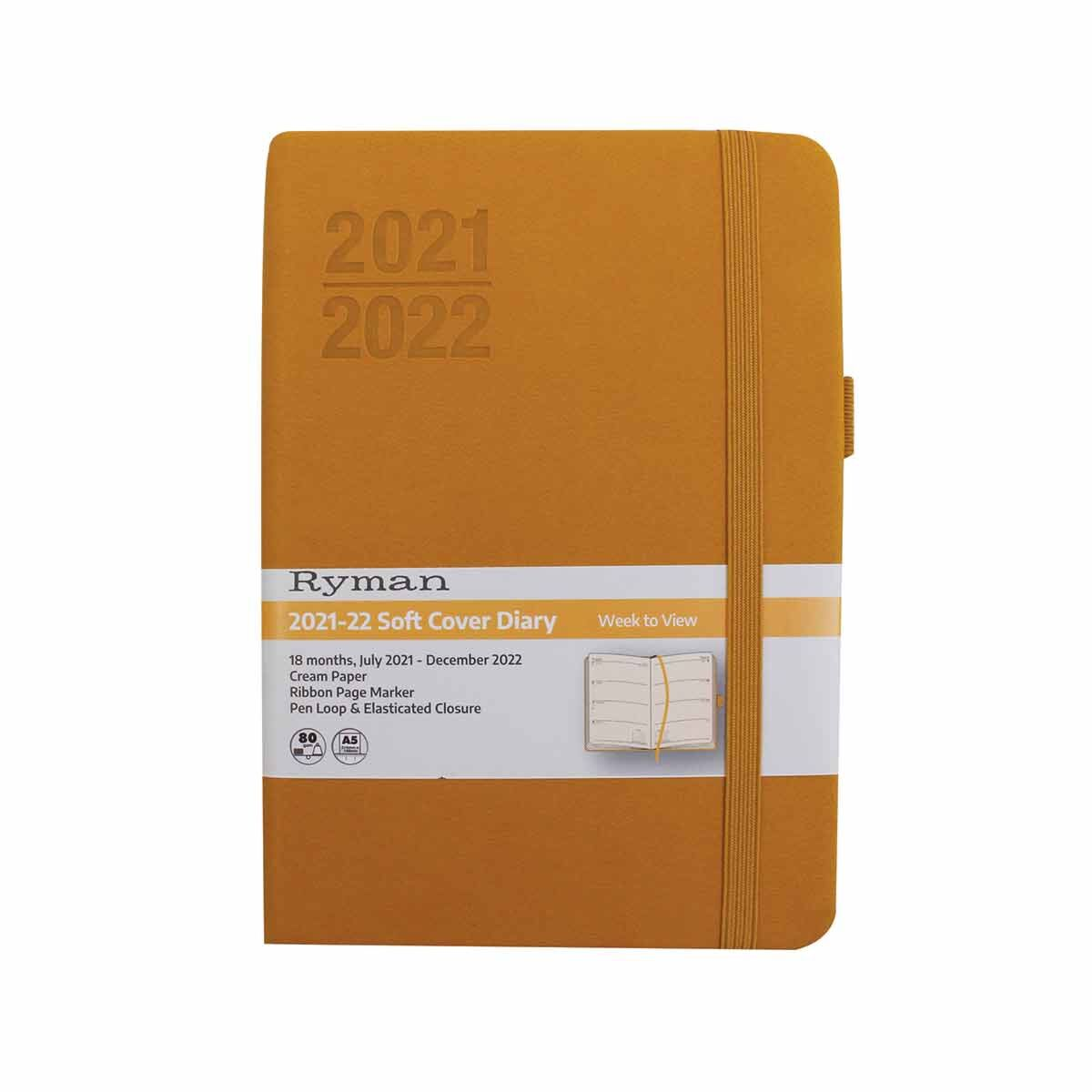 Ryman Soft Cover Mid-Year Diary Week to View Navy A6 2021 Ochre