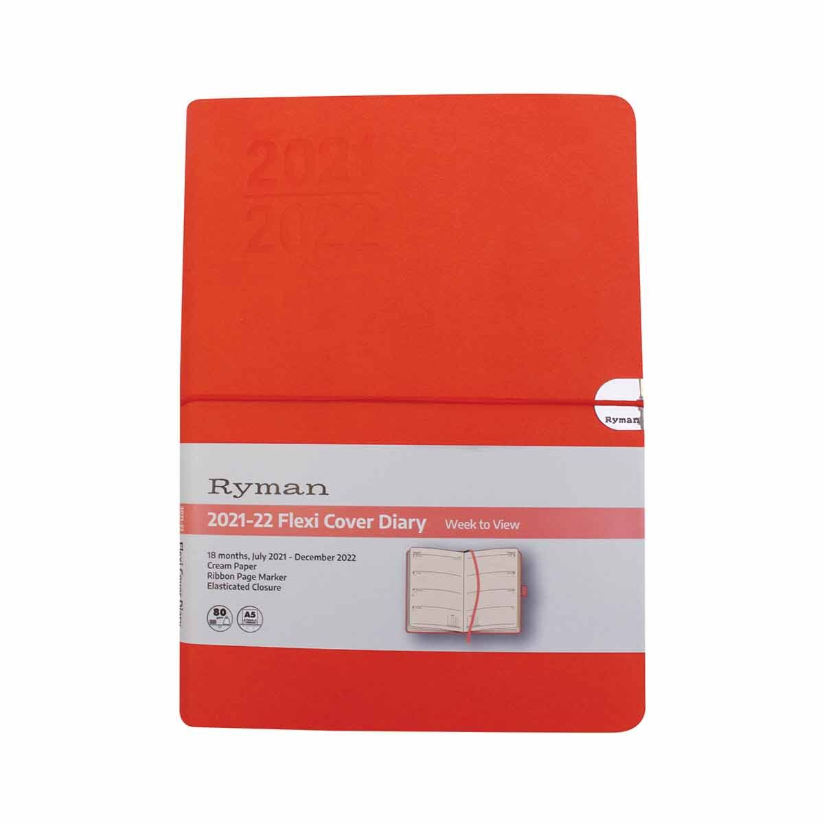 Ryman Soft Cover Flexi Mid-Year Diary Week to View A5 2021 Grey