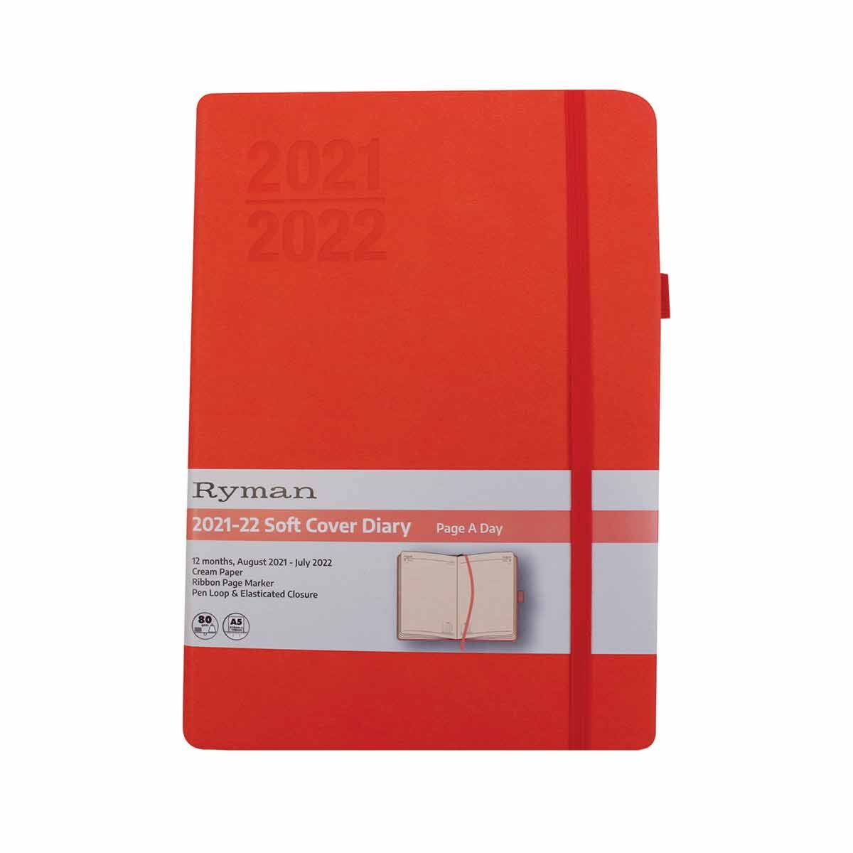Ryman Soft Cover Mid-Year Diary Day to View A5 2021 Pink